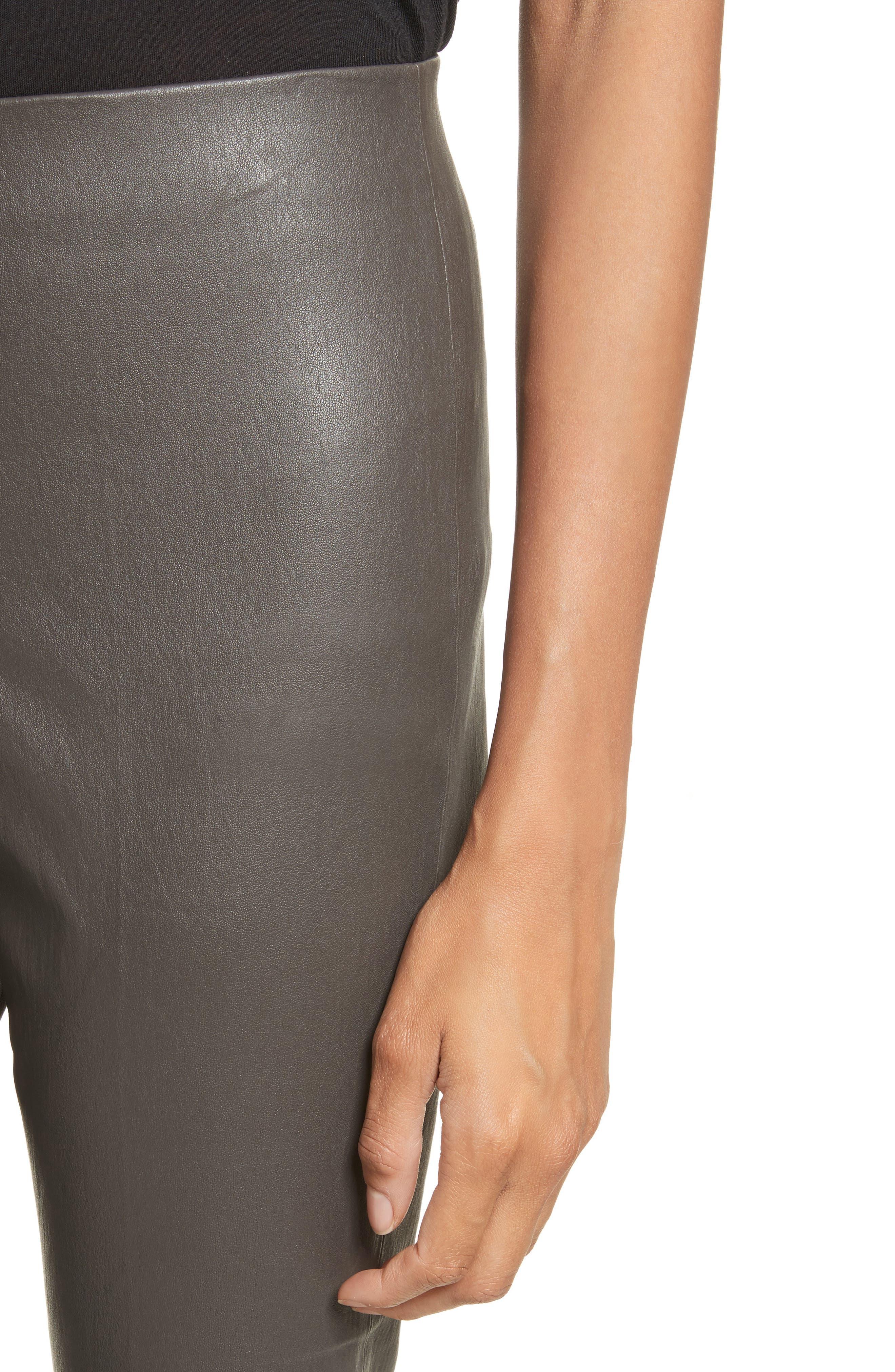 Flare Lambskin Leather Leggings,                             Alternate thumbnail 4, color,                             Graphite