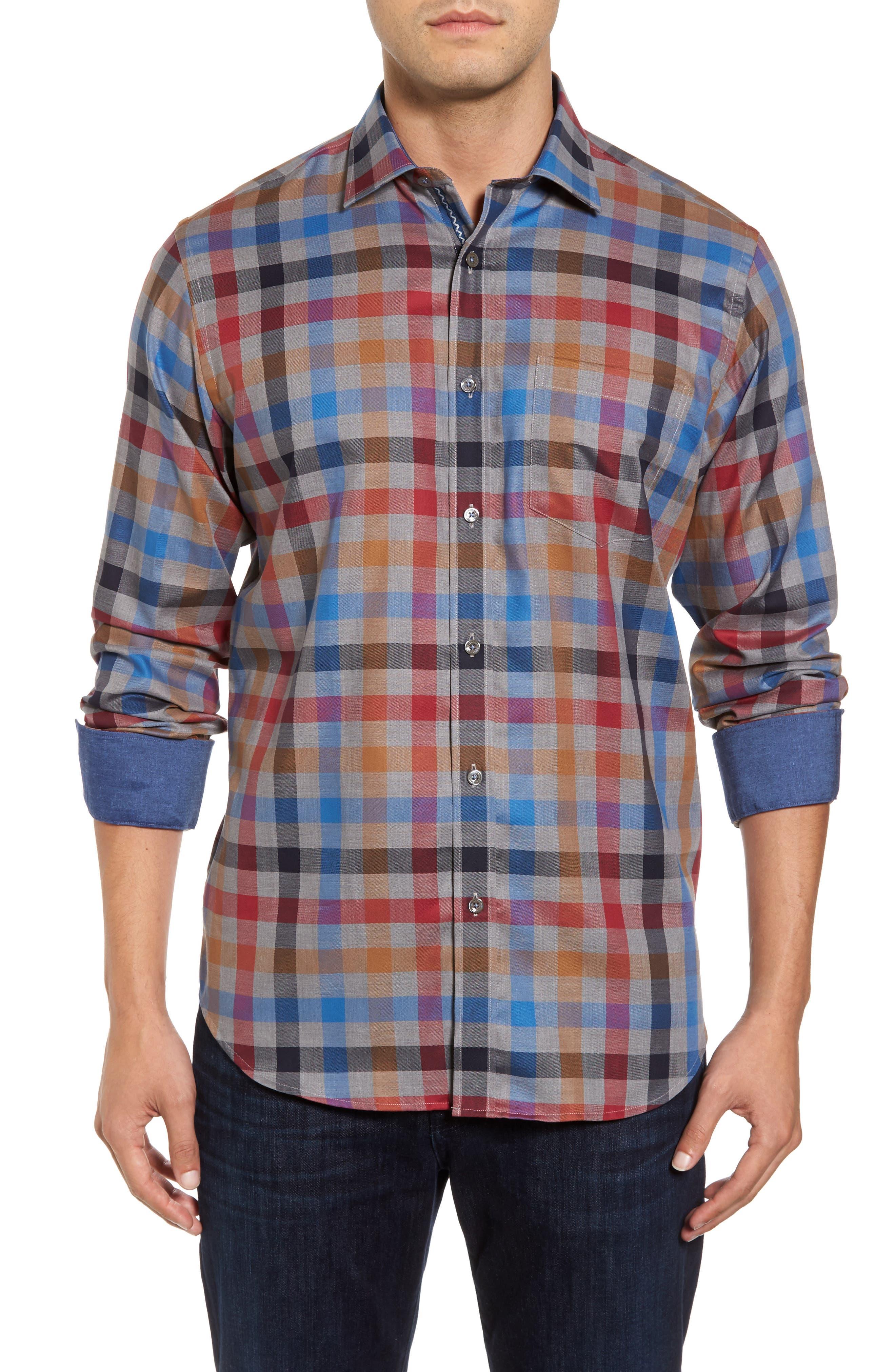 Classic Fit Check Sport Shirt,                         Main,                         color, Graphite