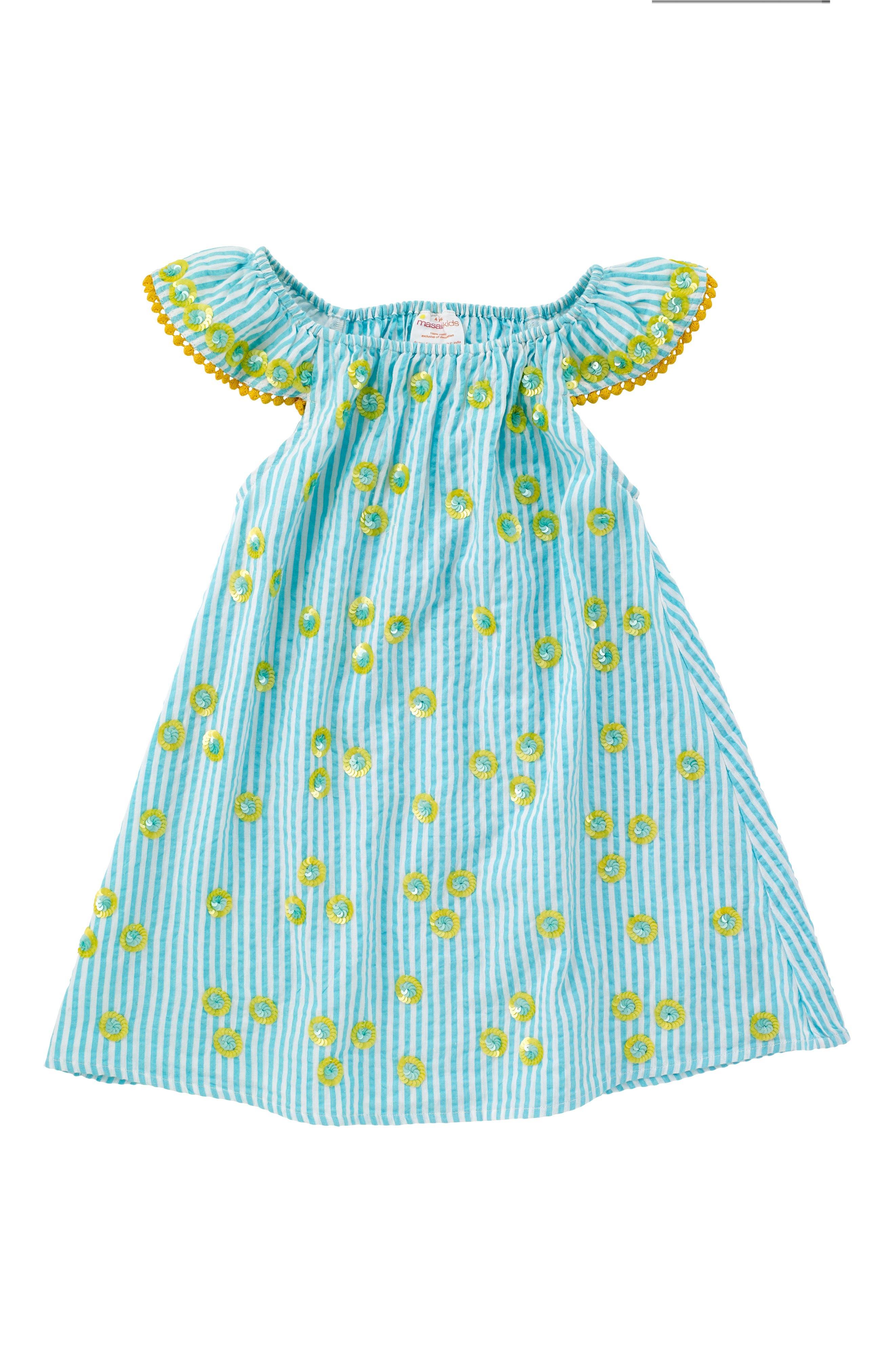 Daisy Flutter Sleeve Dress,                             Main thumbnail 1, color,                             Turquoise