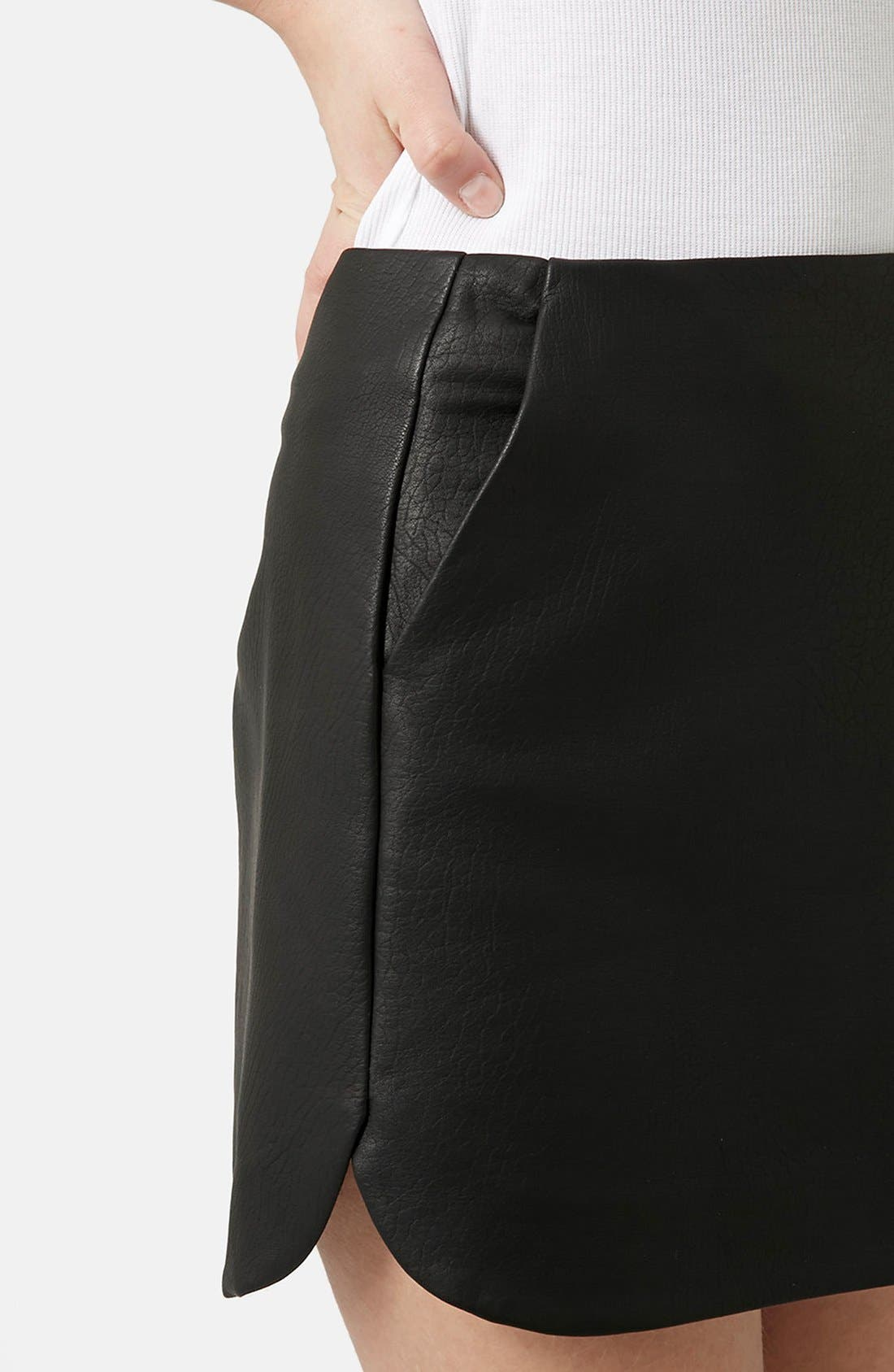 Alternate Image 4  - Topshop Curved Hem Faux Leather Miniskirt