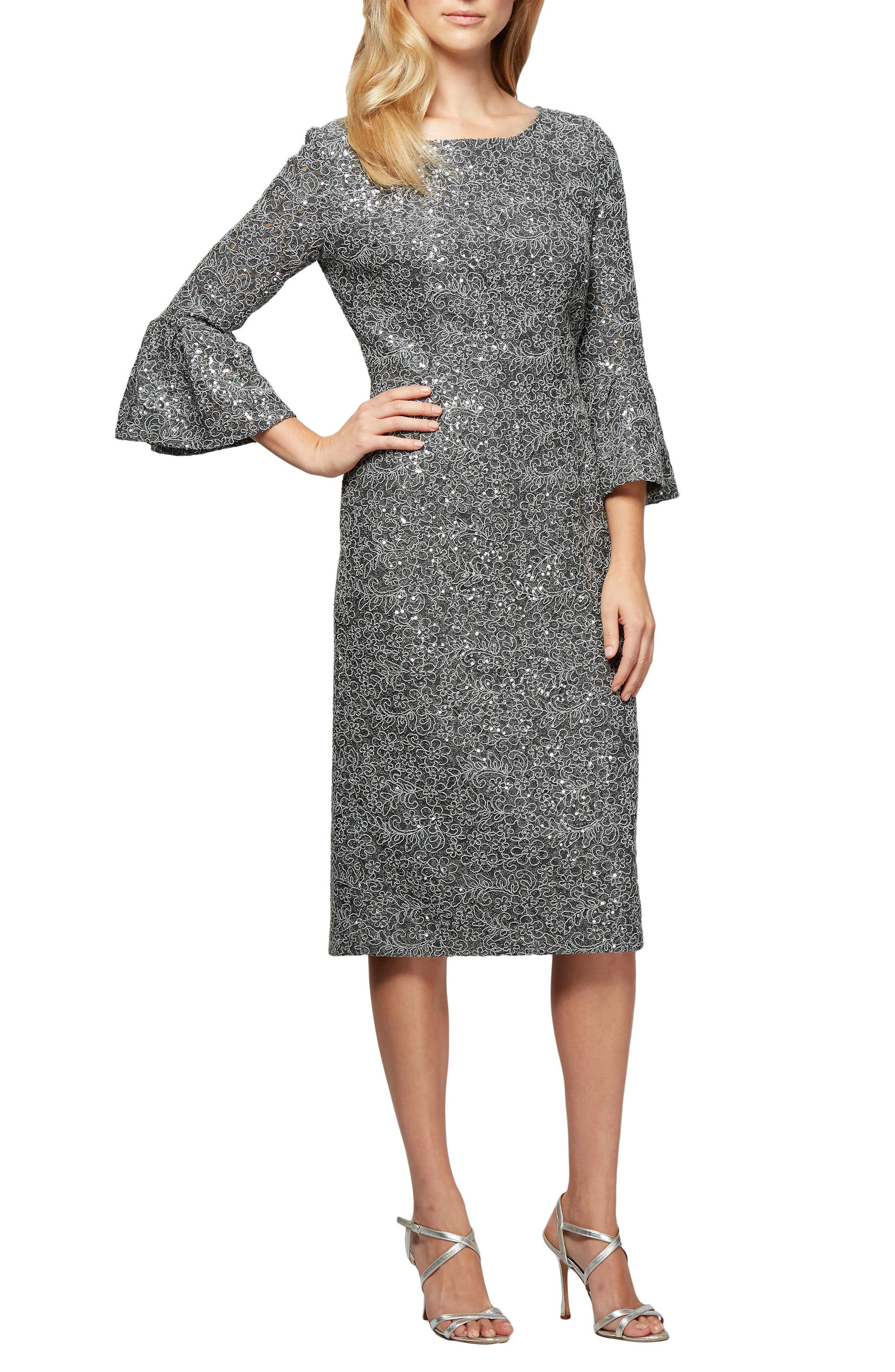 Embroidered Lace Shift Dress,                         Main,                         color, Gunmetal