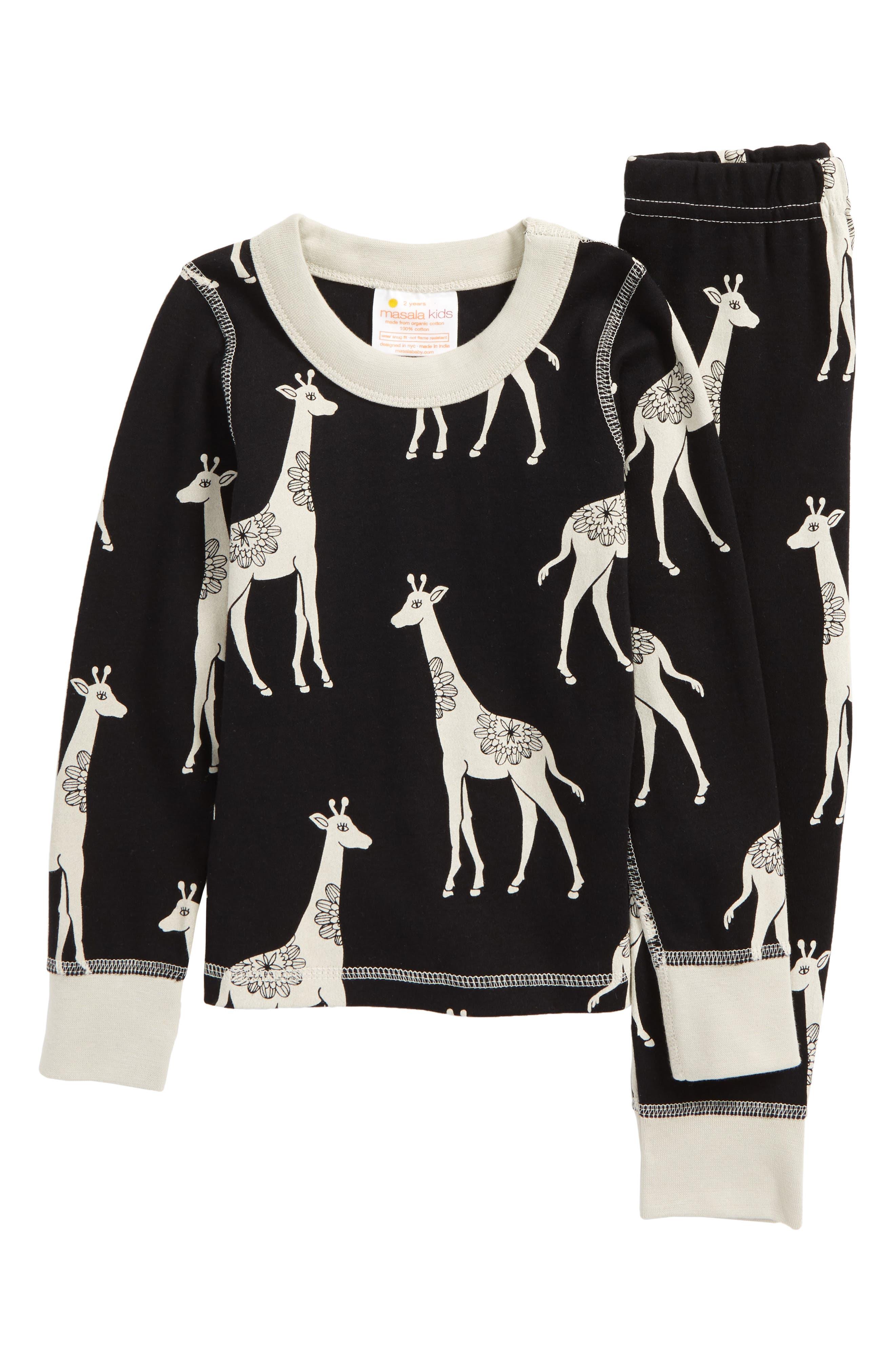 Main Image - Masalababy Giraffe Organic Cotton Fitted Two-Piece Pajamas (Toddler Kids, Little Kids & Big Kids)