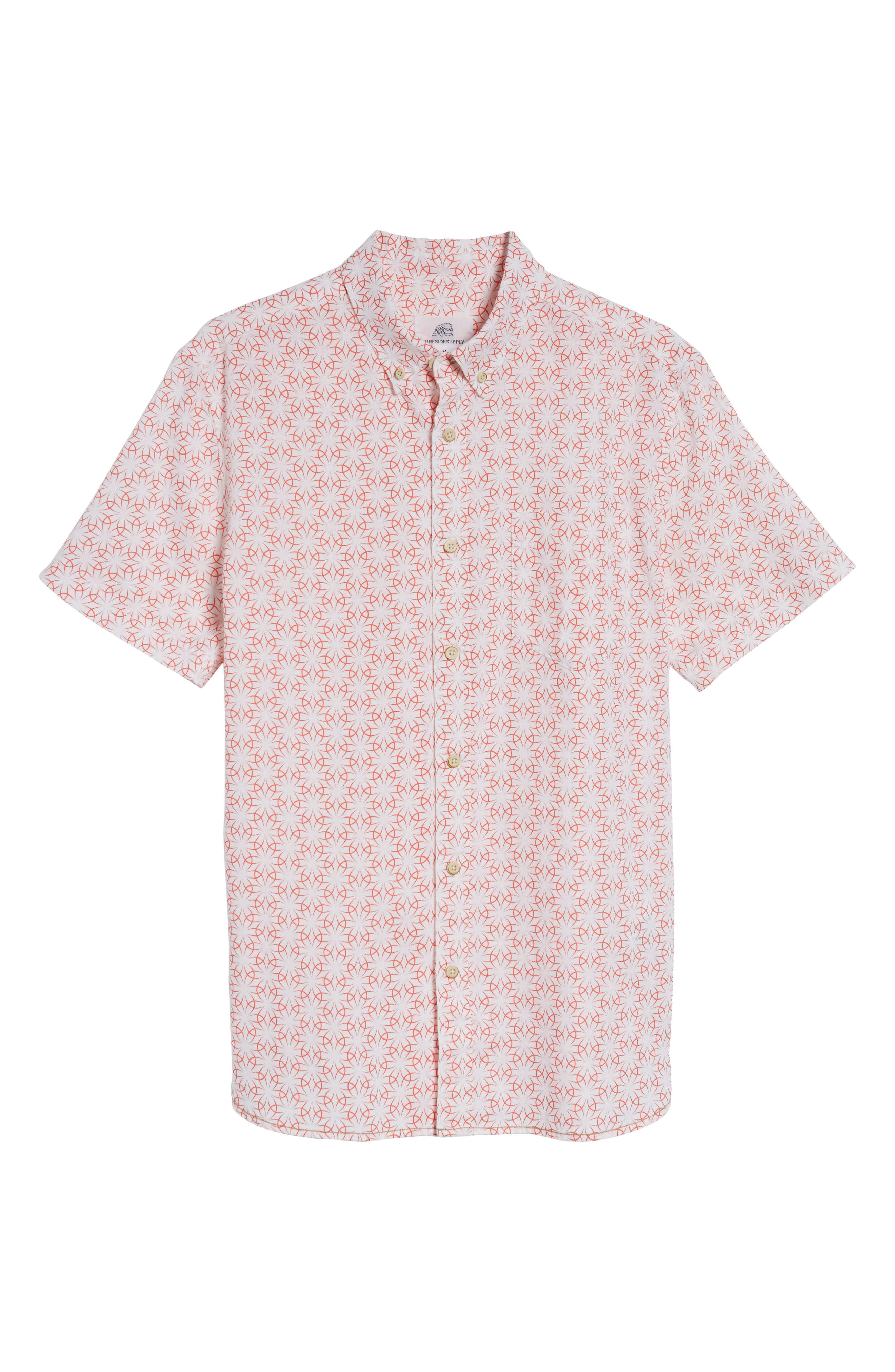 Gradient Flower Linen Sport Shirt,                             Alternate thumbnail 6, color,                             White/ Coral