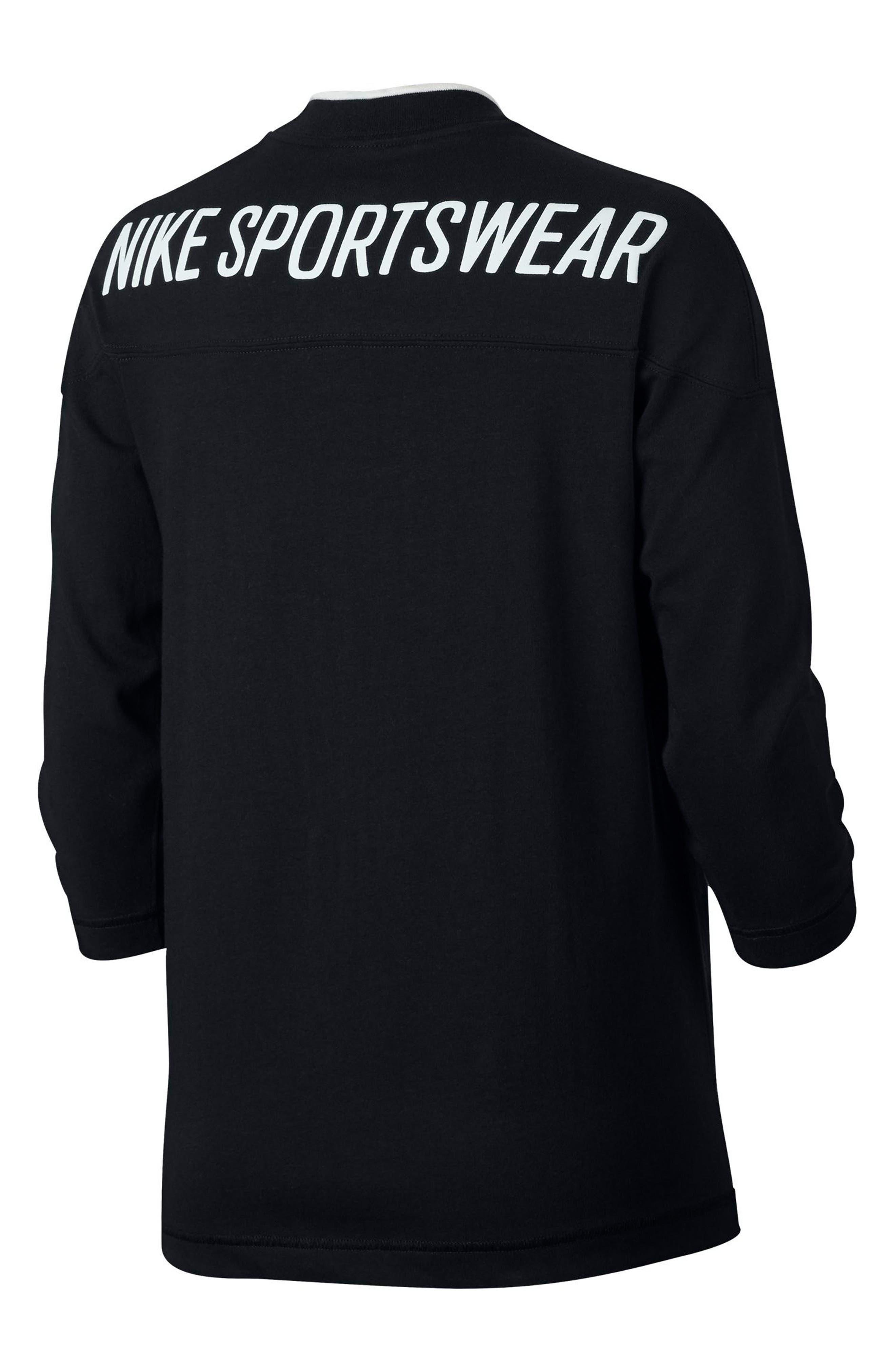 Sportswear Women's V-Neck Top,                             Alternate thumbnail 2, color,                             Black/ Sail