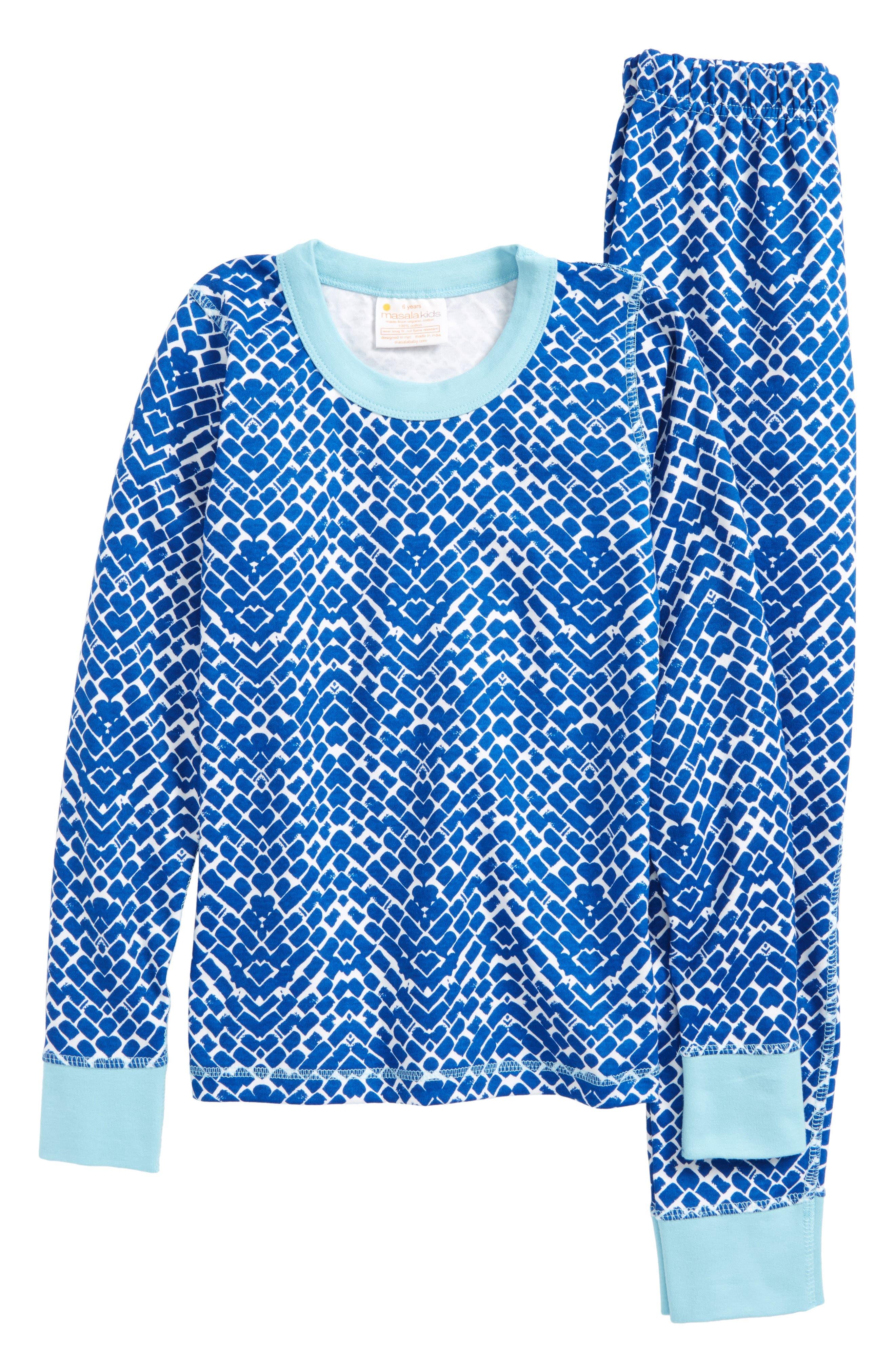 Main Image - Masala Baby Cobblestone Organic Cotton Fitted Two-Piece Pajamas (Toddler Kids, Little Kids & Big Kids)