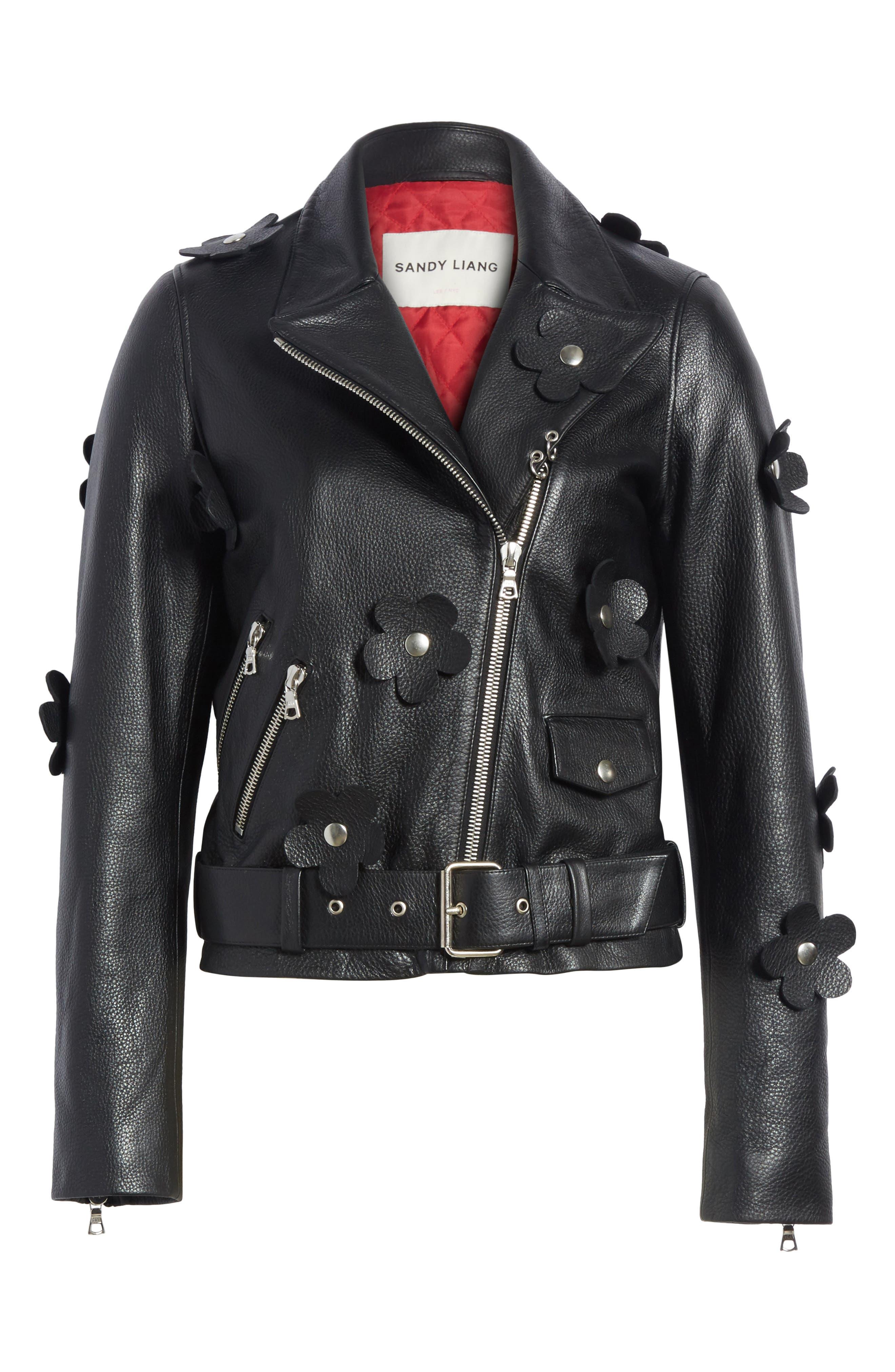 Alternate Image 6  - Sandy Liang Petals Delancey Leather Moto Jacket