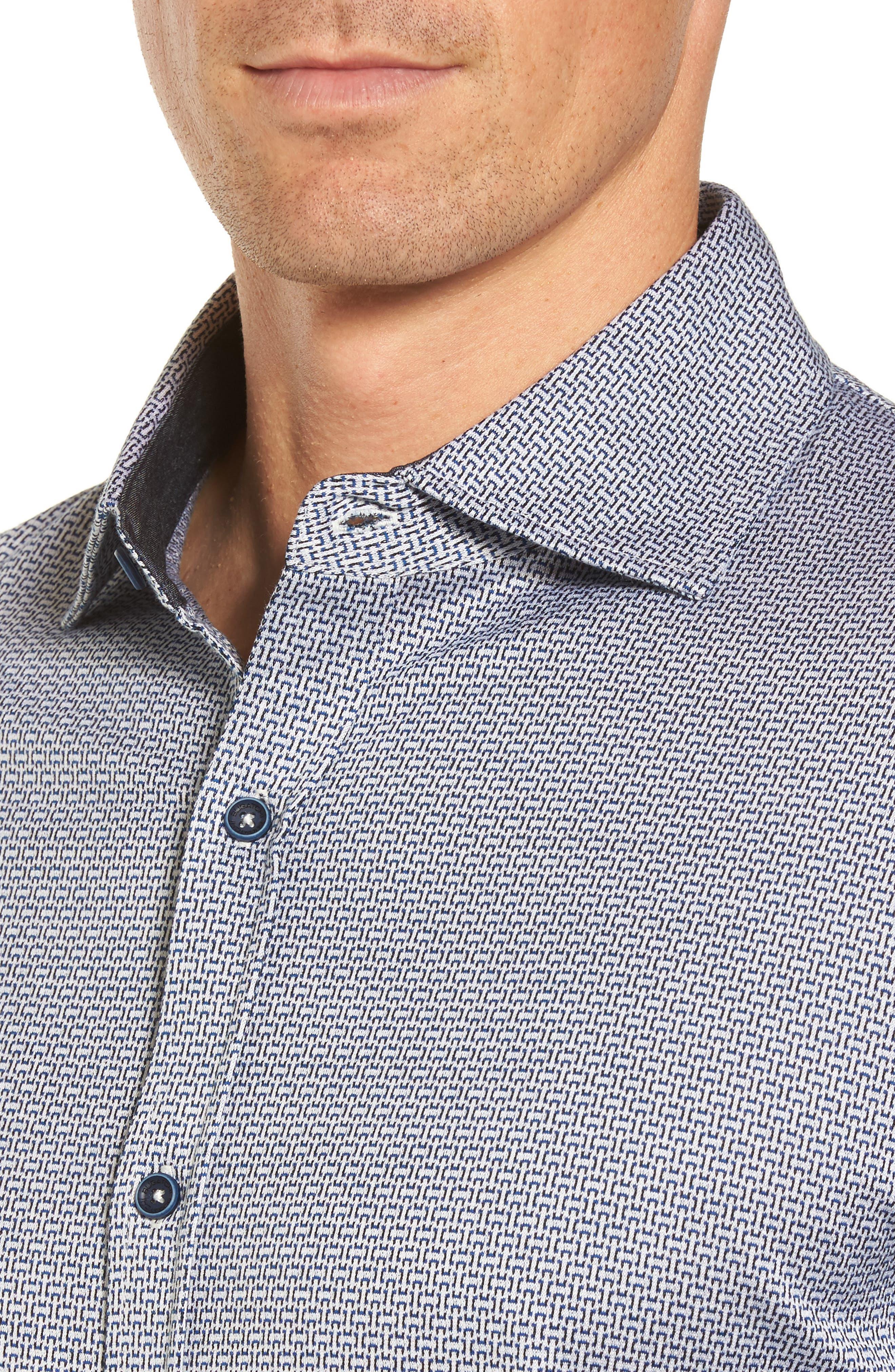 Alternate Image 4  - Bugatchi Print Knit Sport Shirt