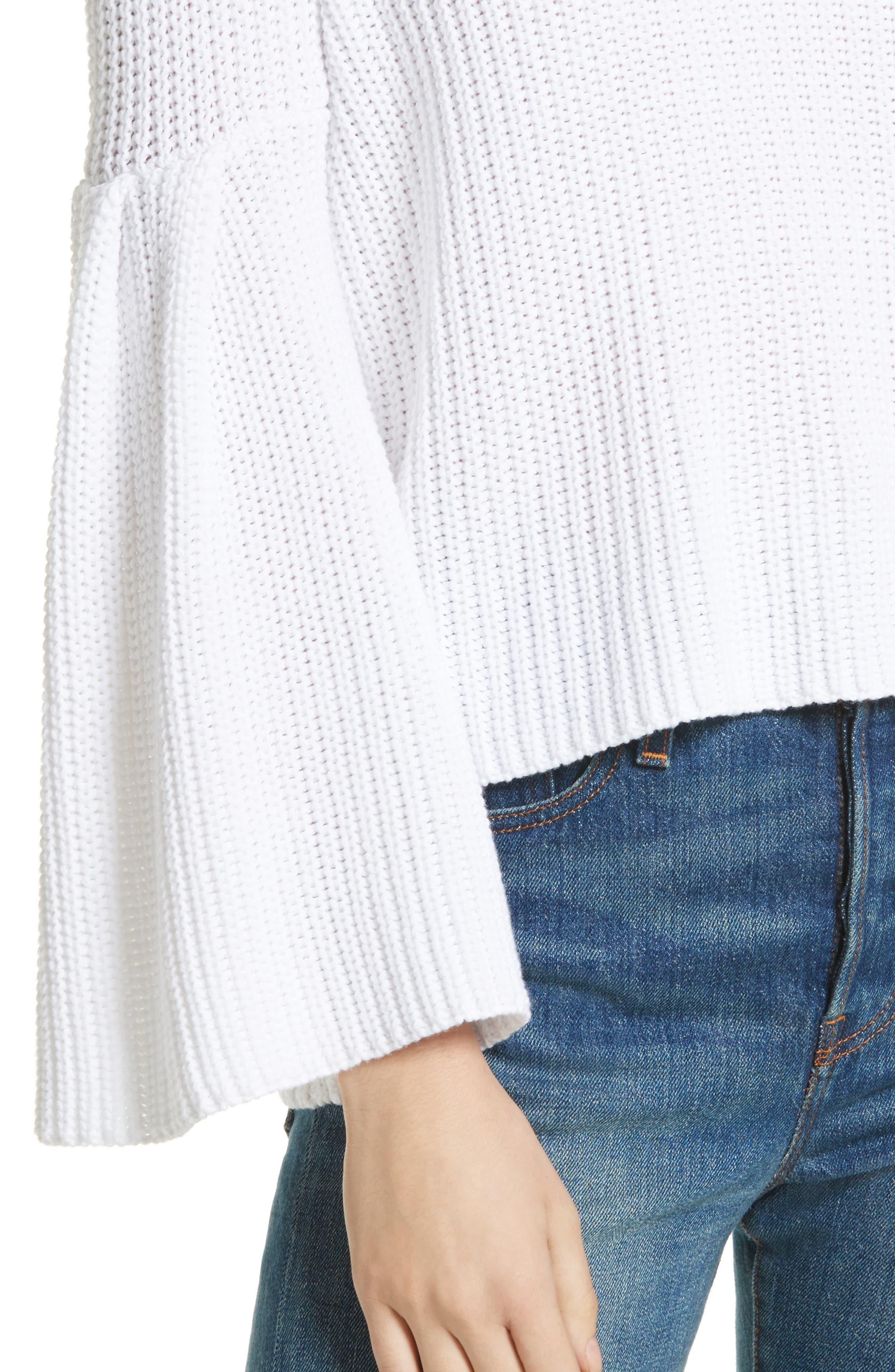 Damsel Bell Sleeve Pullover,                             Alternate thumbnail 4, color,                             White