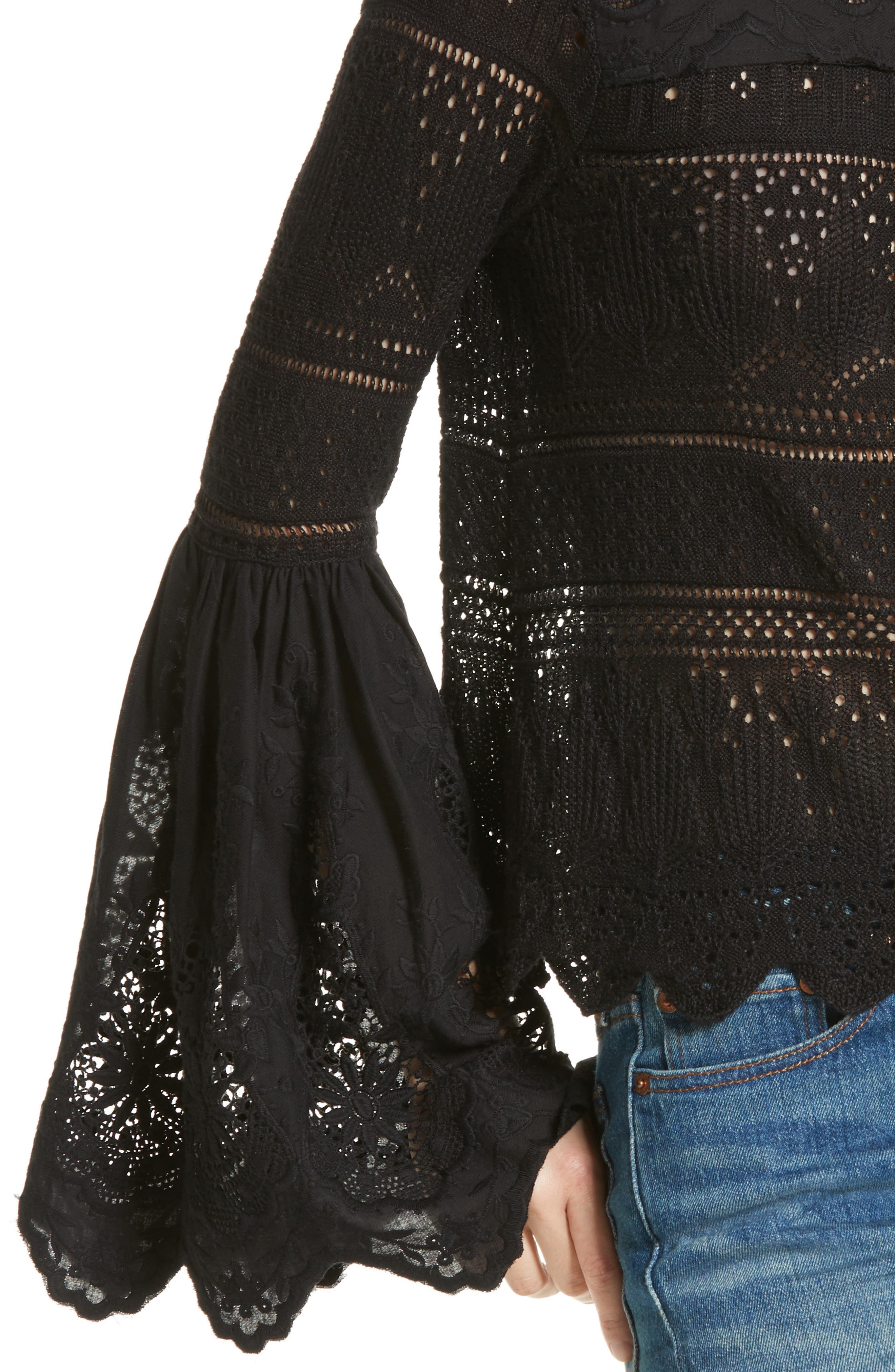 Once Upon a Time Lace Top,                             Alternate thumbnail 4, color,                             Black