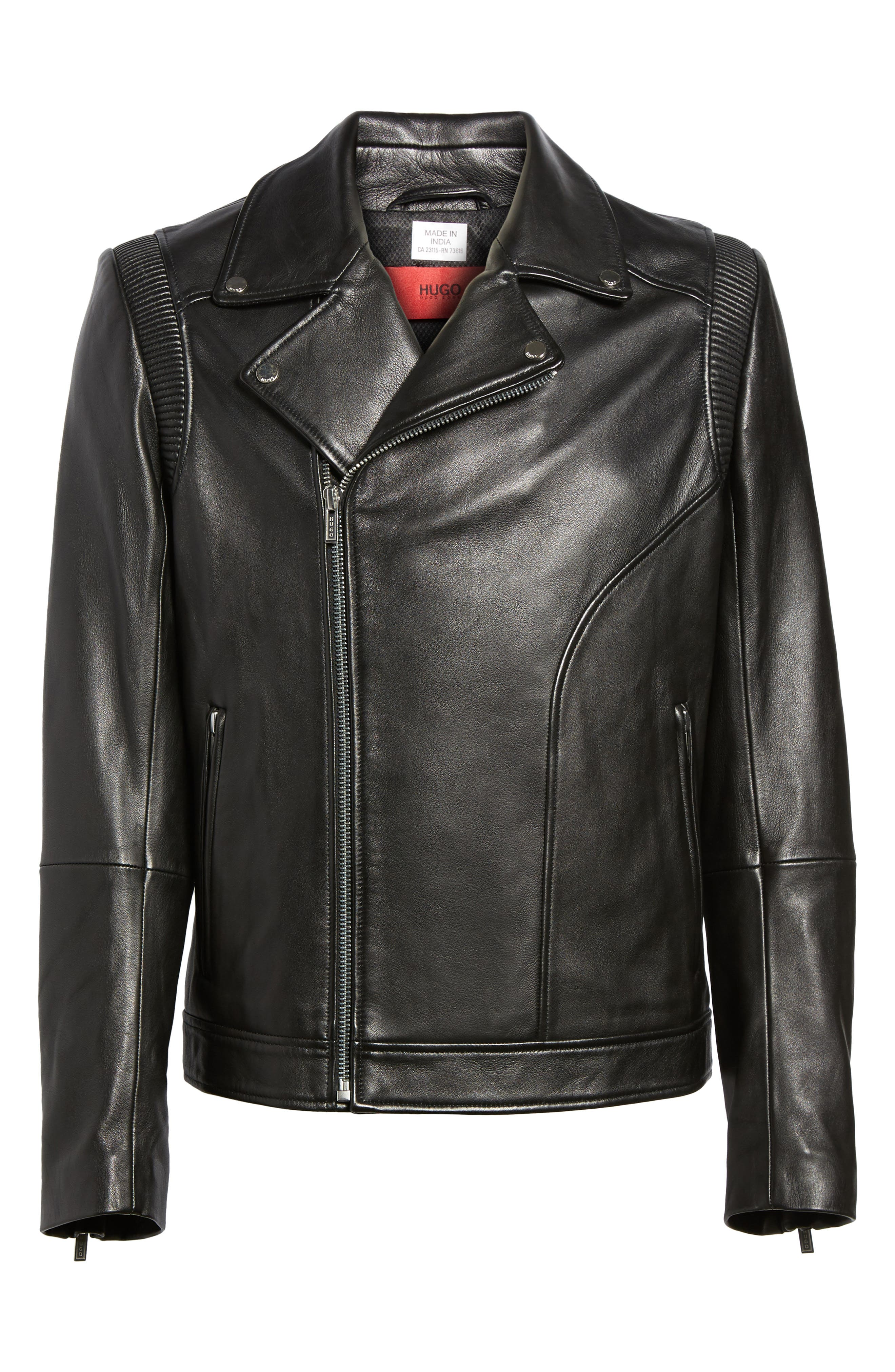 Laston Leather Moto Jacket,                             Alternate thumbnail 6, color,                             Black