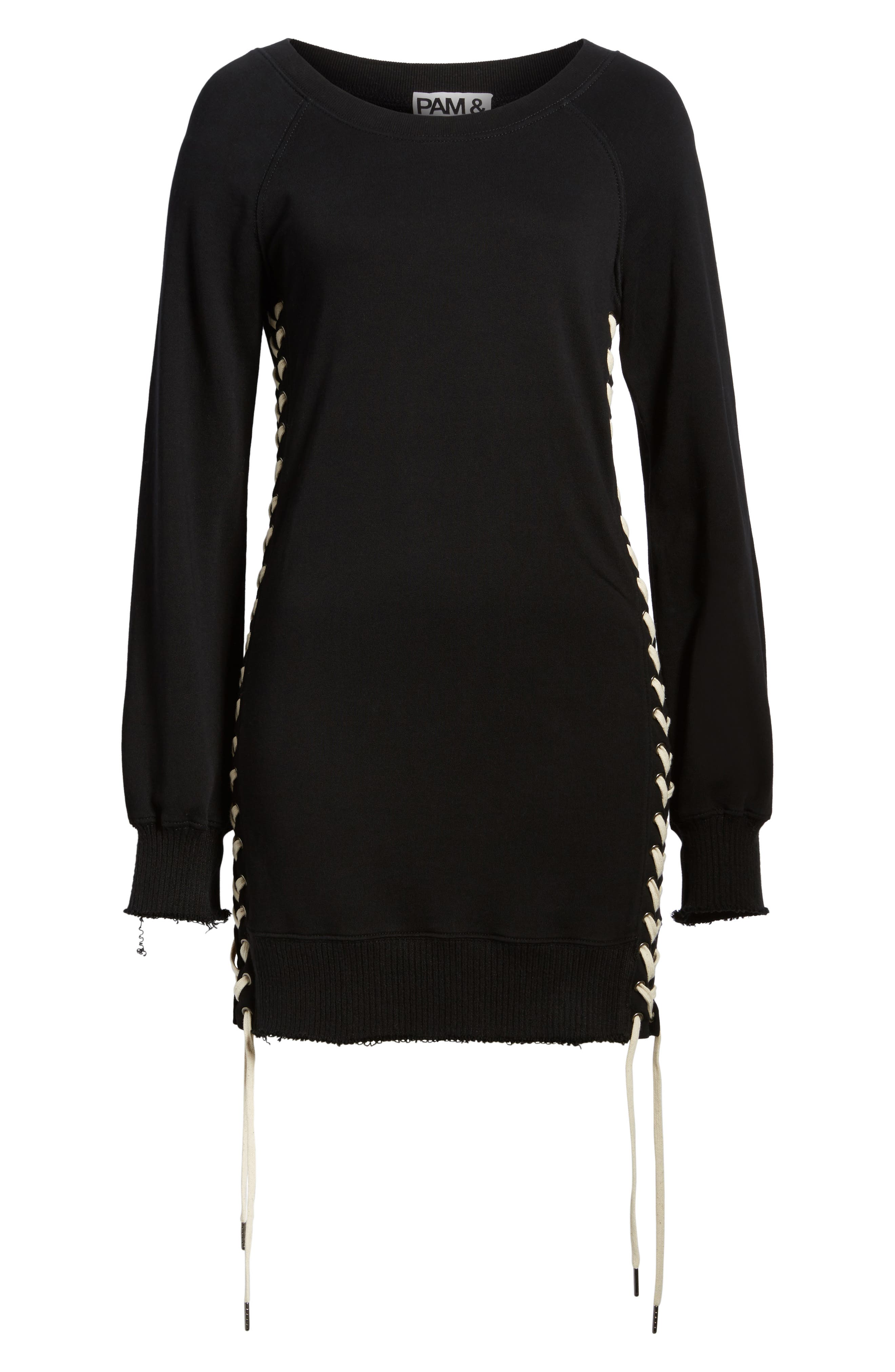 Lace-Up Sweatshirt Dress,                             Alternate thumbnail 6, color,                             Black