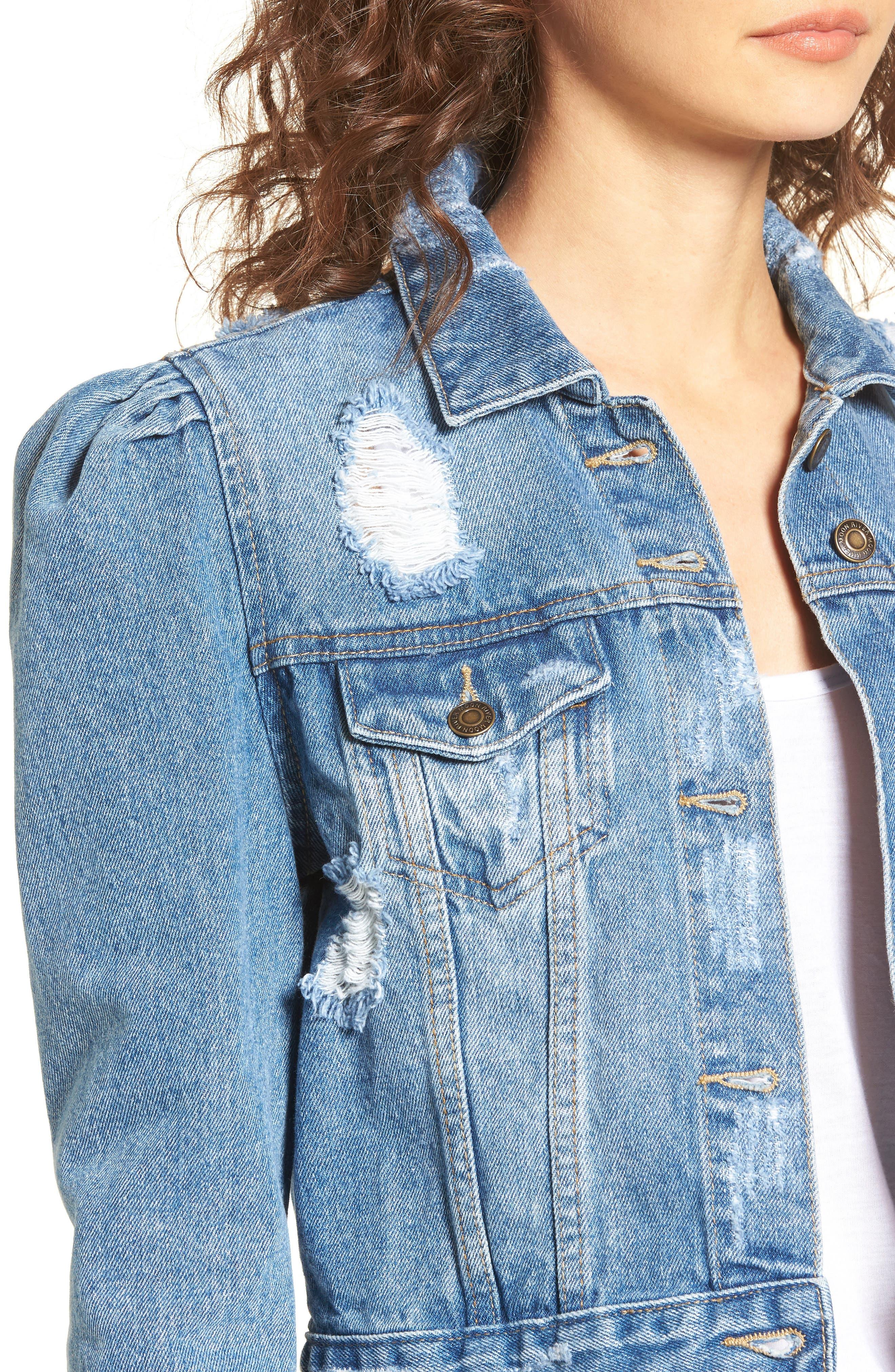 Alternate Image 4  - MOON RIVER Distressed Denim Jacket