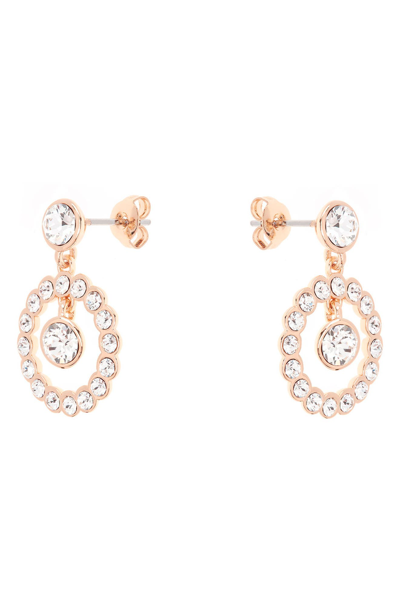 Concentric Crystal Drop Earrings,                             Alternate thumbnail 2, color,                             Rose Gold
