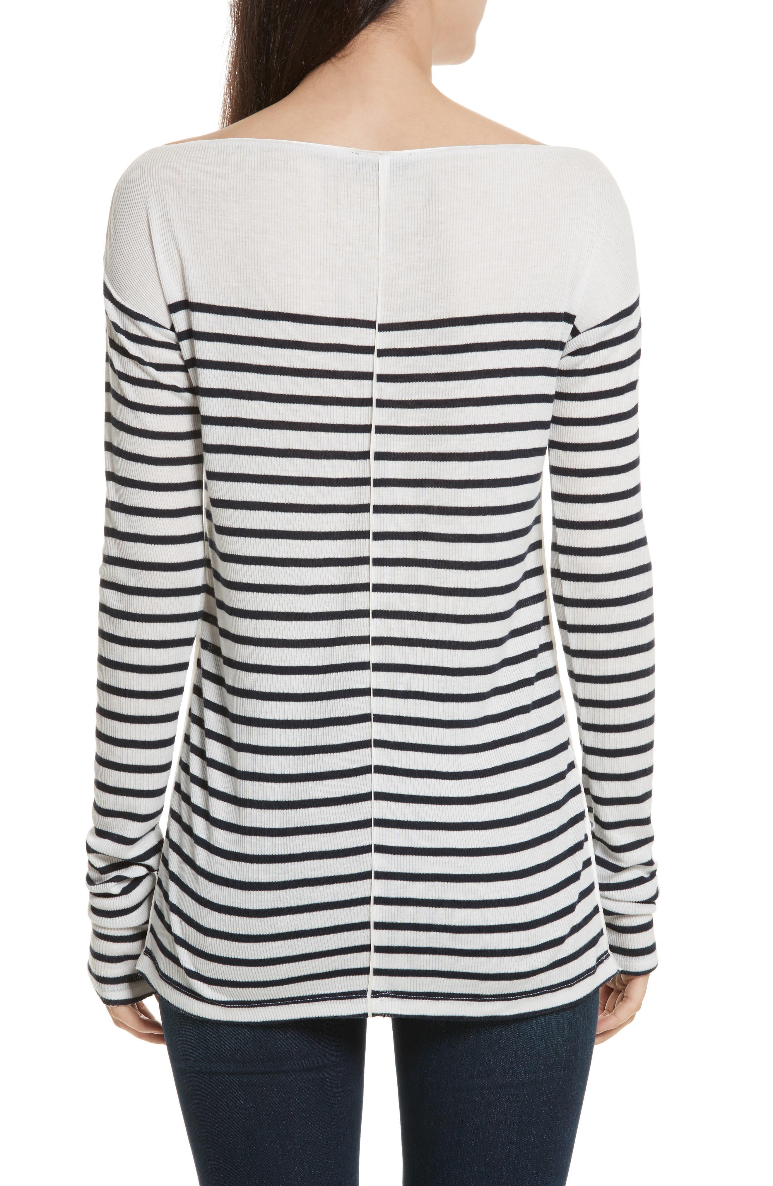 Madison Stripe Long Sleeve Top,                             Alternate thumbnail 2, color,                             Ivory/ Navy