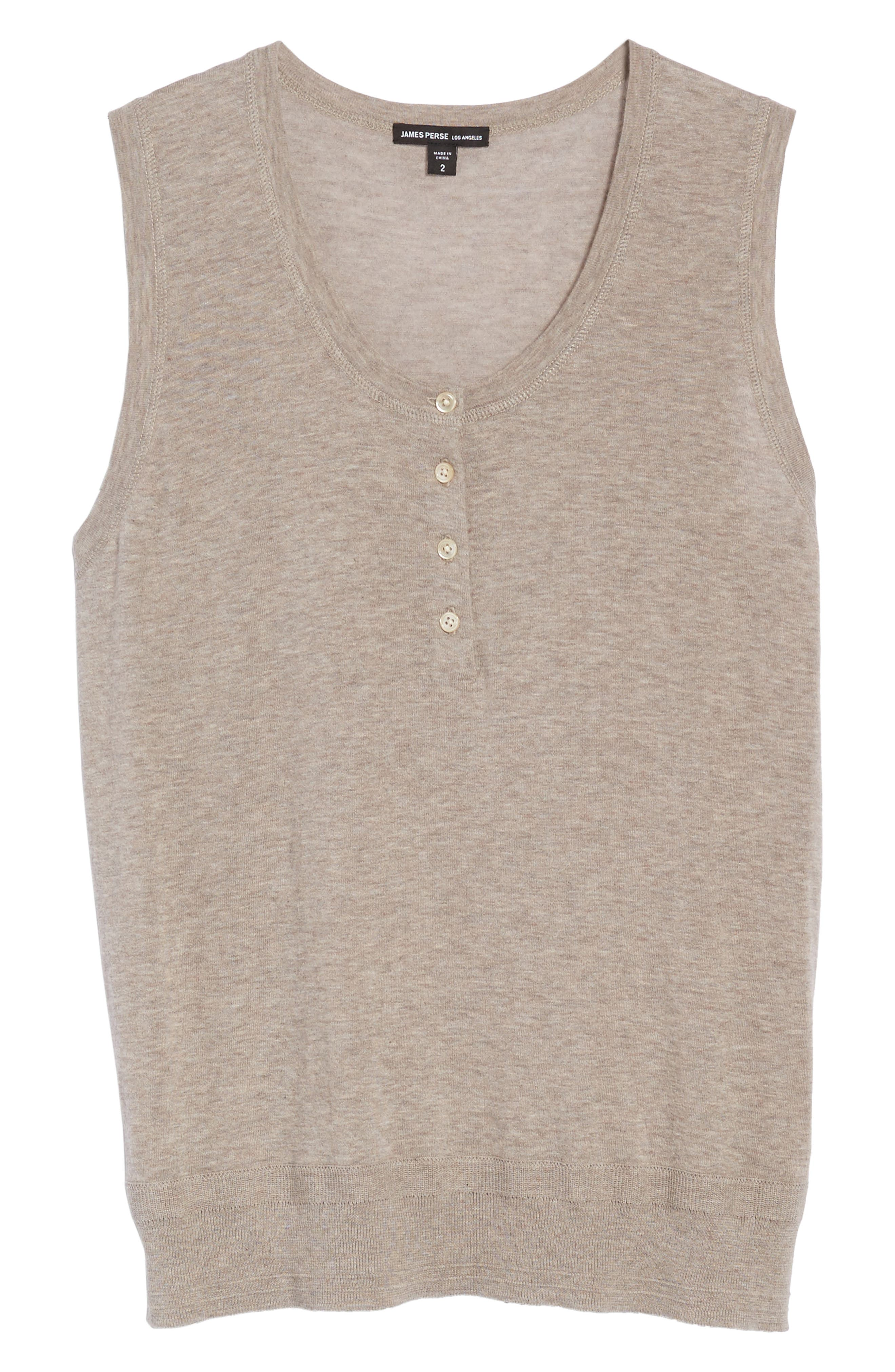 Henley Tank Sweater,                             Alternate thumbnail 6, color,                             Heather Taupe