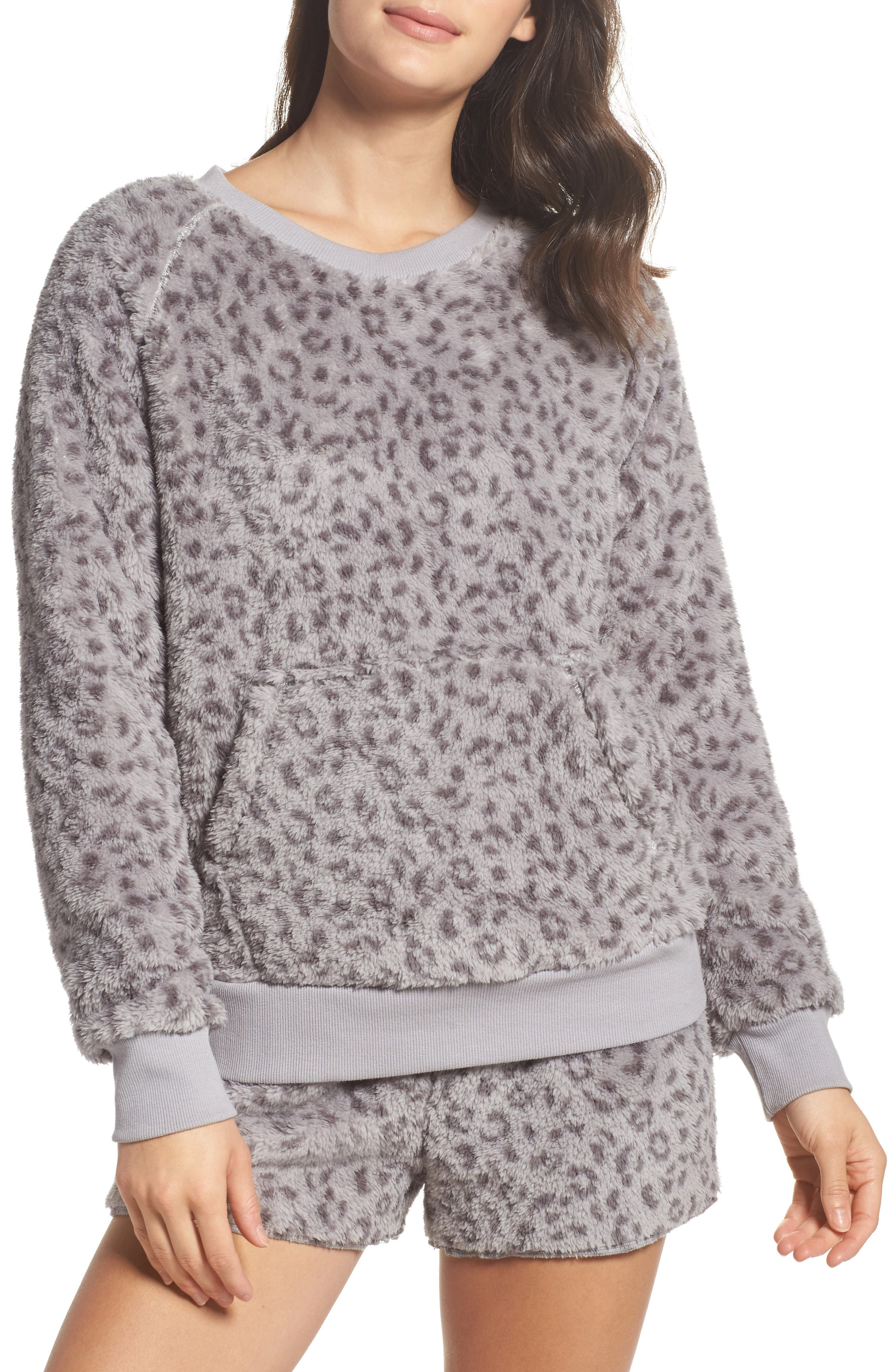 Plush Pajamas,                             Main thumbnail 1, color,                             Leopard