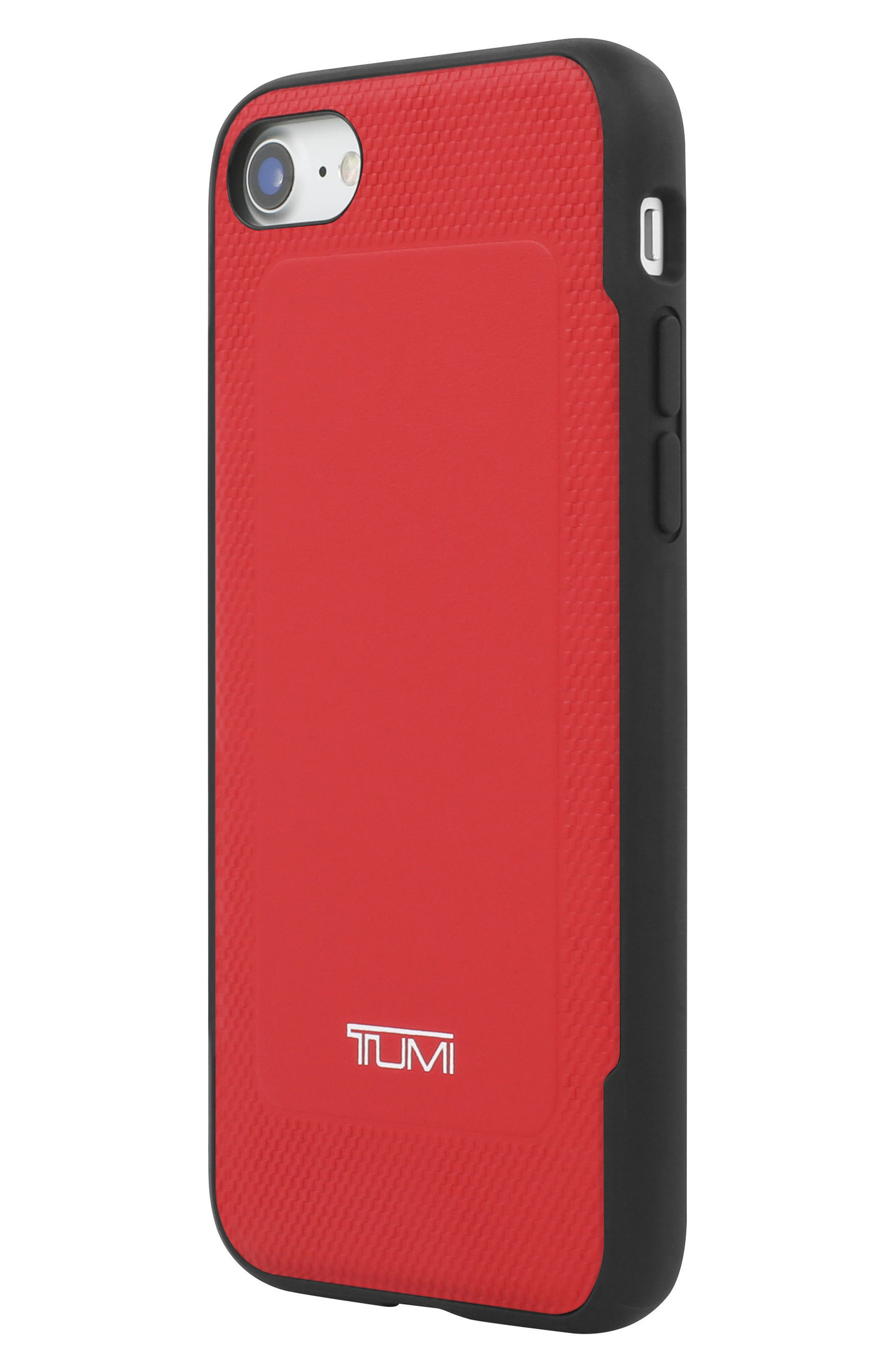 Leather iPhone 8 Case,                             Alternate thumbnail 2, color,                             Red