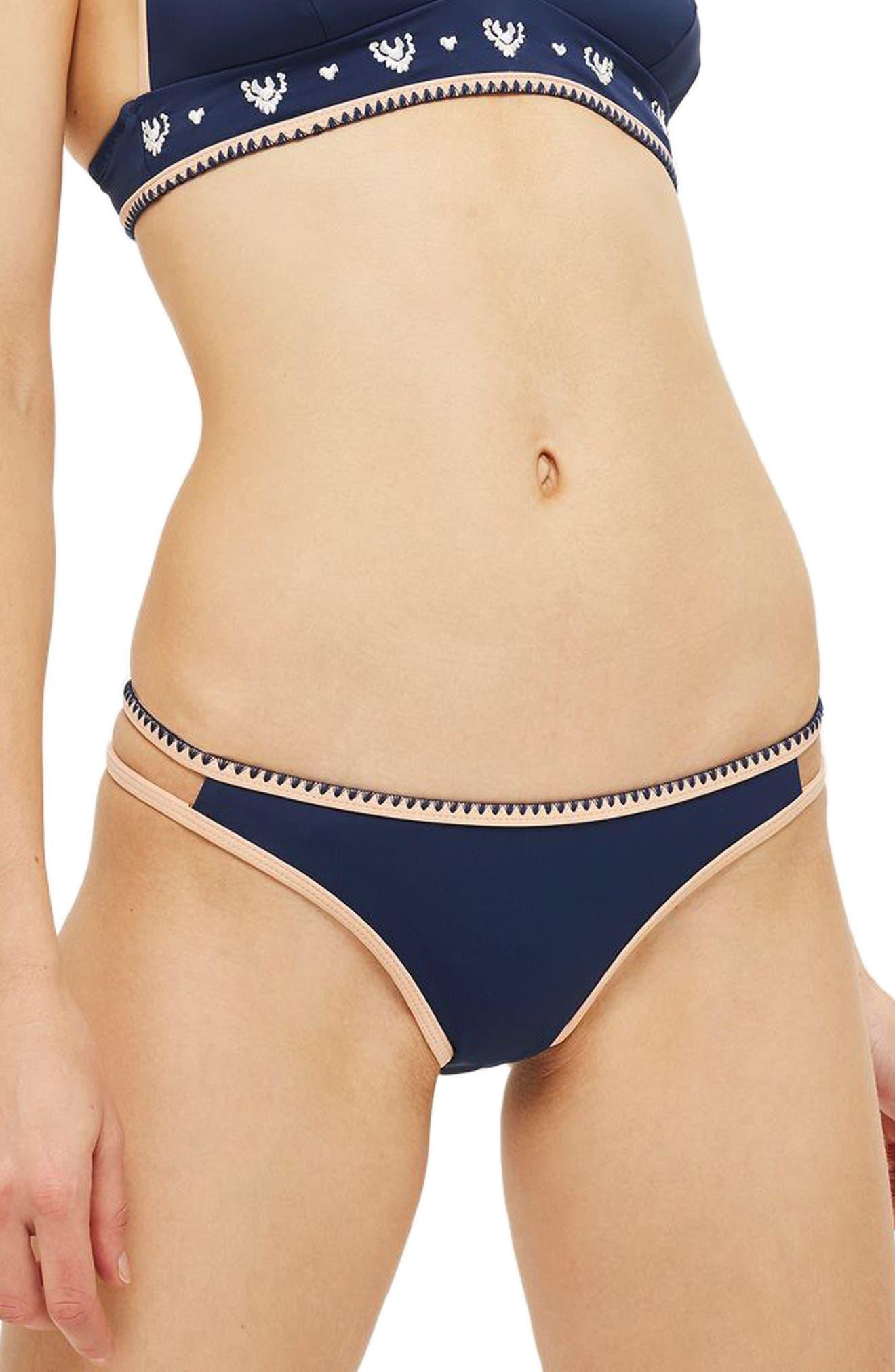Topshop Stitched Edge Bikini Bottoms