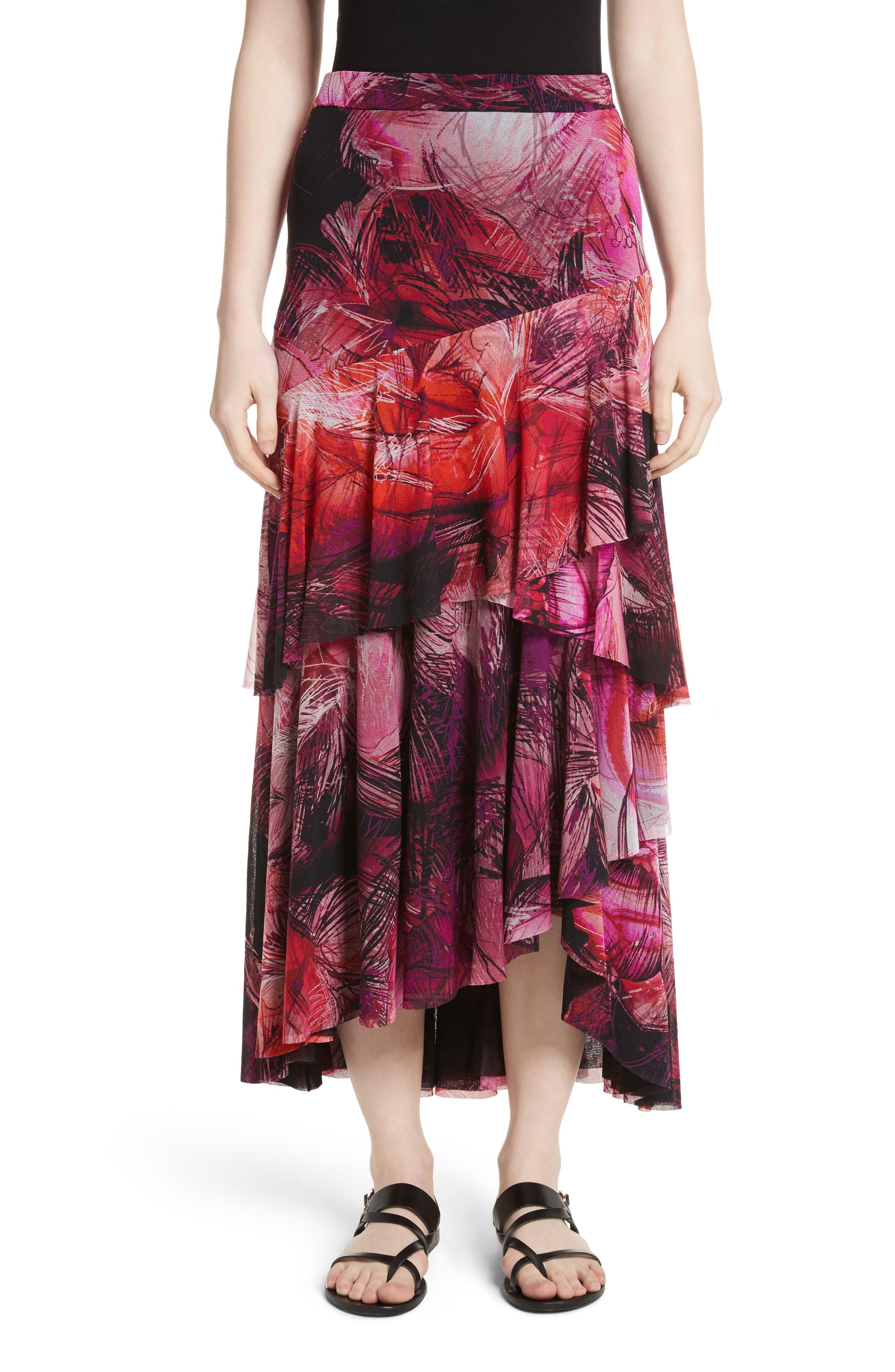 Print Tulle Ruffle Skirt,                         Main,                         color, Pink/Purple
