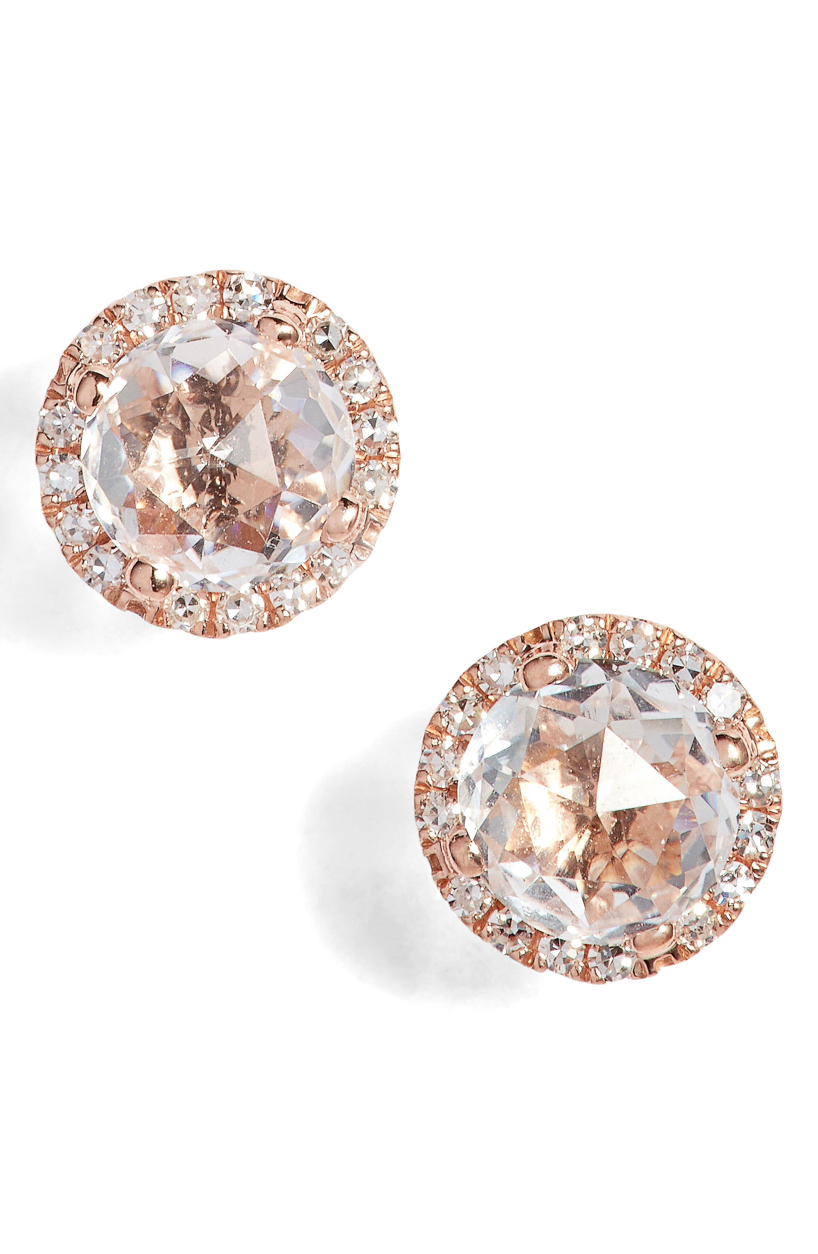 Diamond & Topaz Stud Earrings,                         Main,                         color, Rose Gold