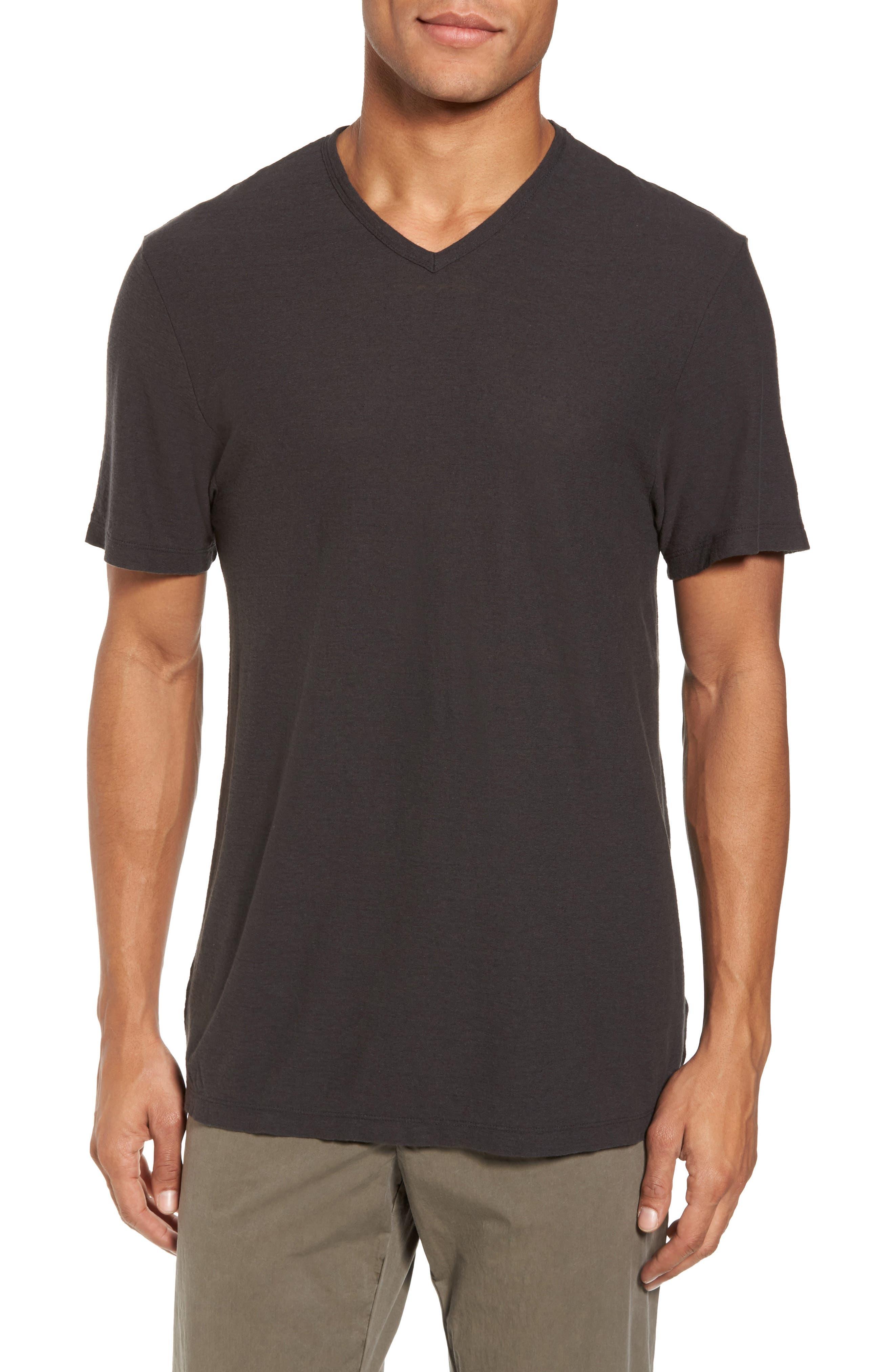 James Perse V-Neck Cotton & Linen T-Shirt