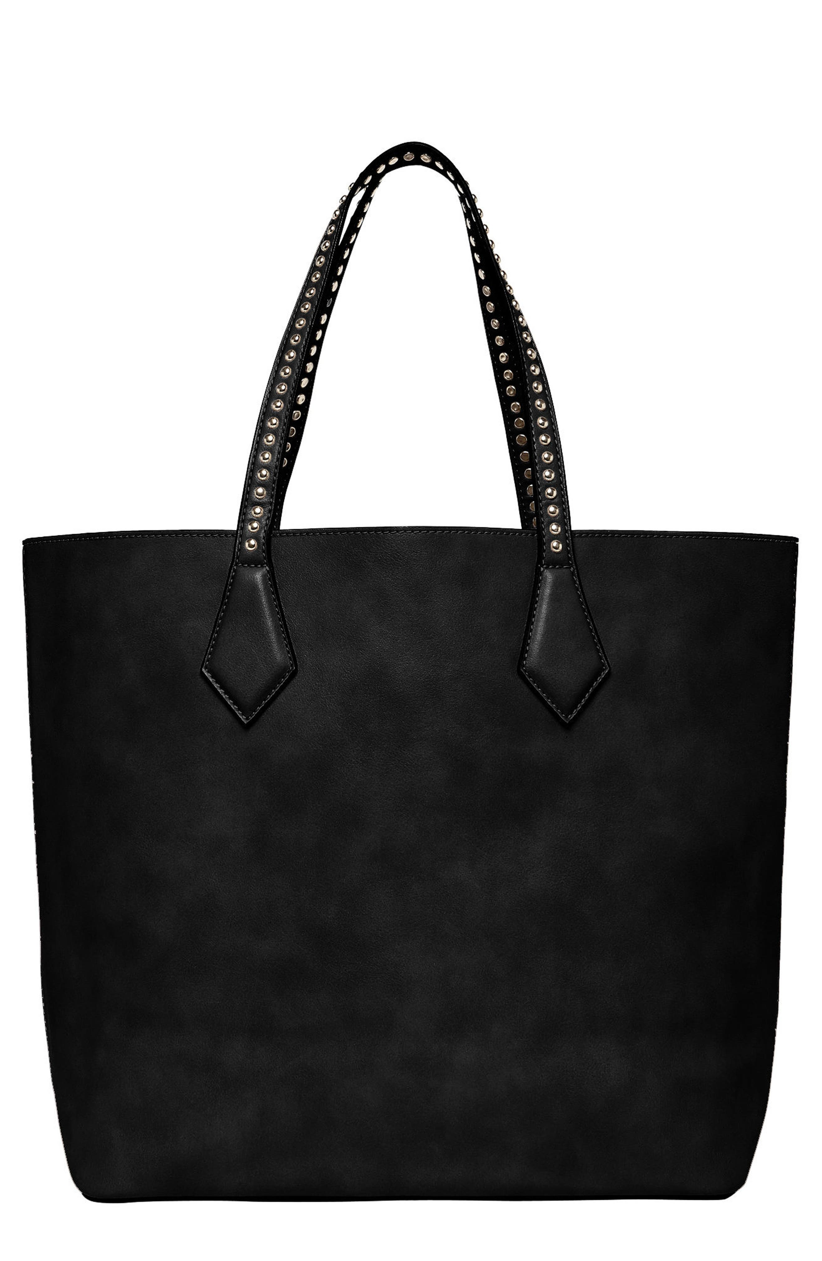 Midnight Hour Vegan Leather Tote,                             Main thumbnail 1, color,                             Black