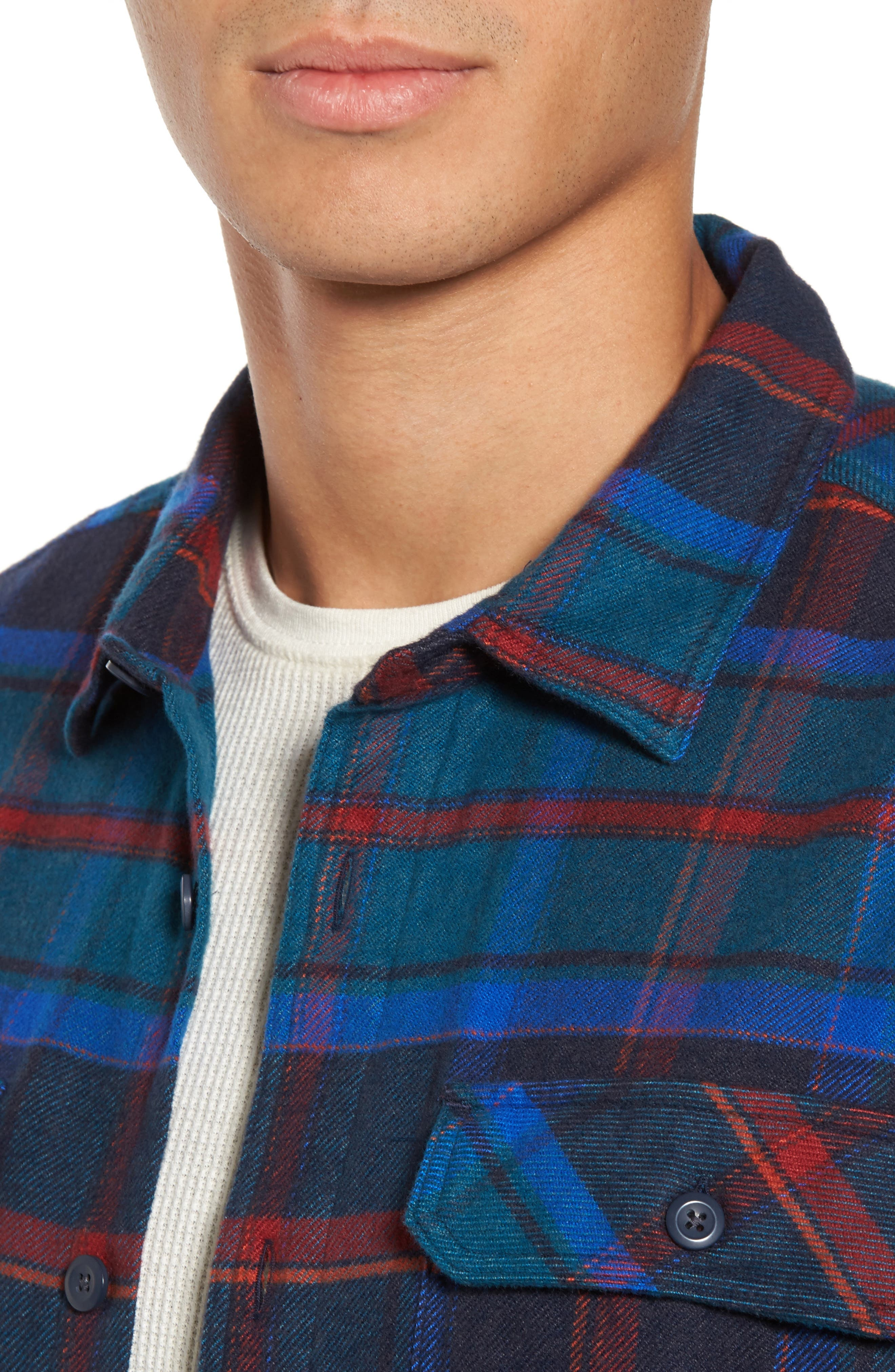 'Fjord' Regular Fit Organic Cotton Flannel Shirt,                             Alternate thumbnail 4, color,                             Buckstop Plaid Big Sur Blue
