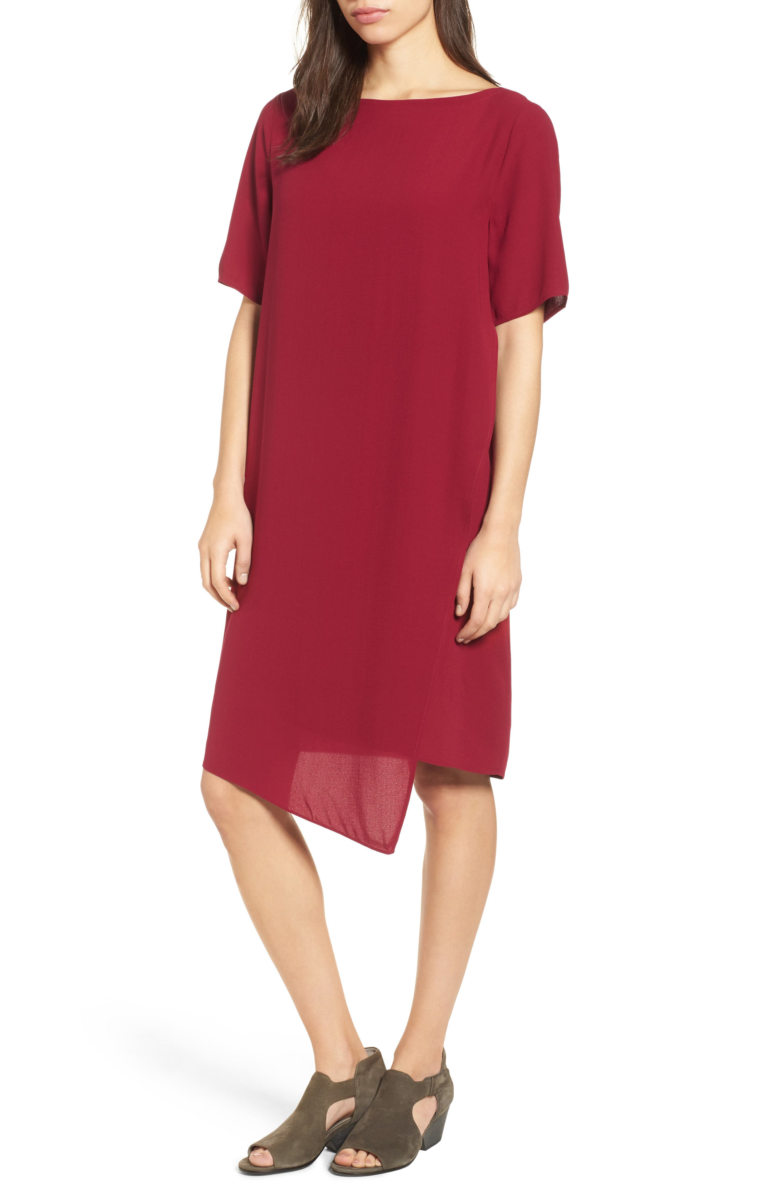Main Image - Eileen Fisher Asymmetrical Silk Shift Dress (Regular & Petite)