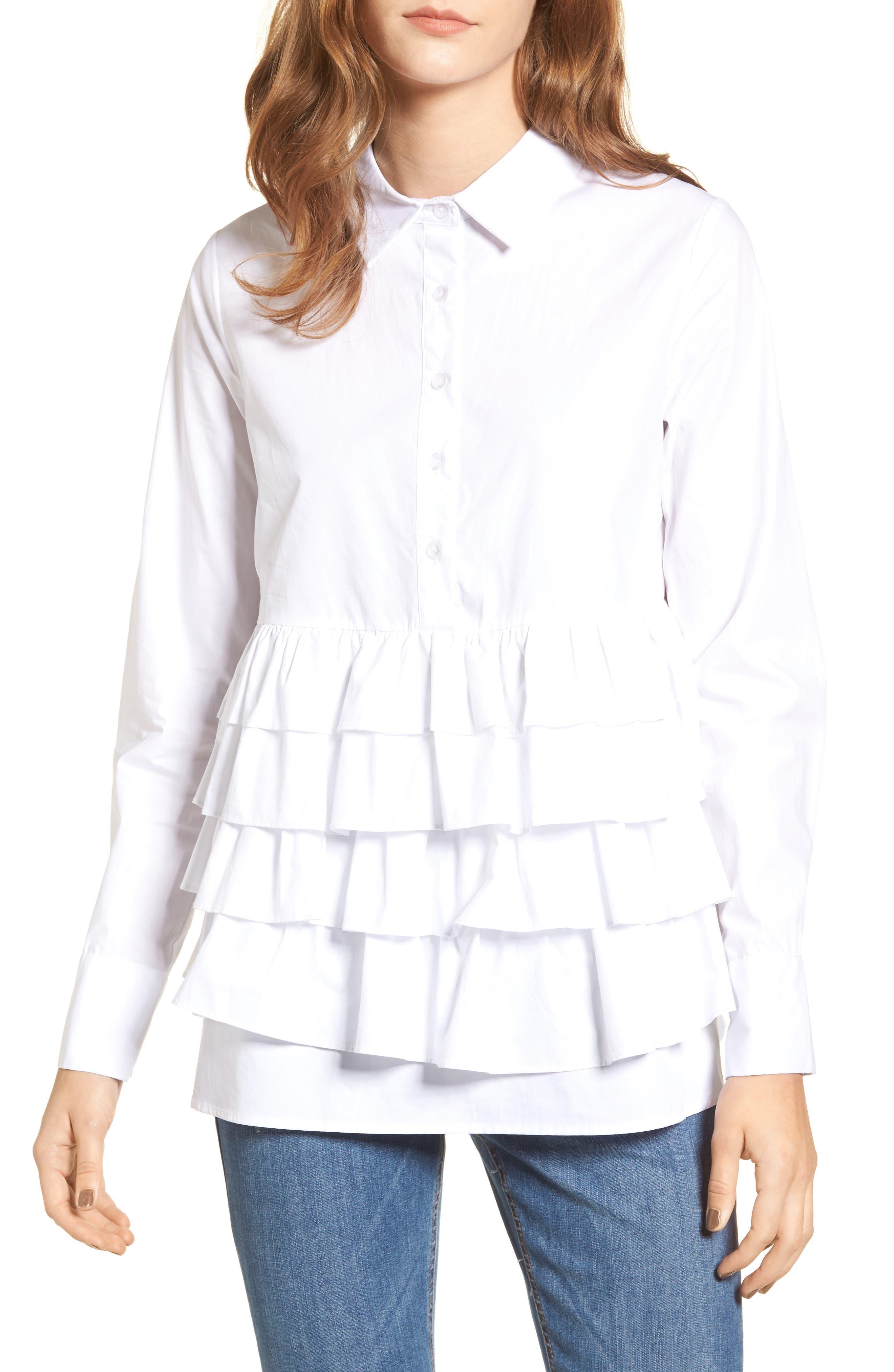 Main Image - LOST INK Ruffle Hem Shirt