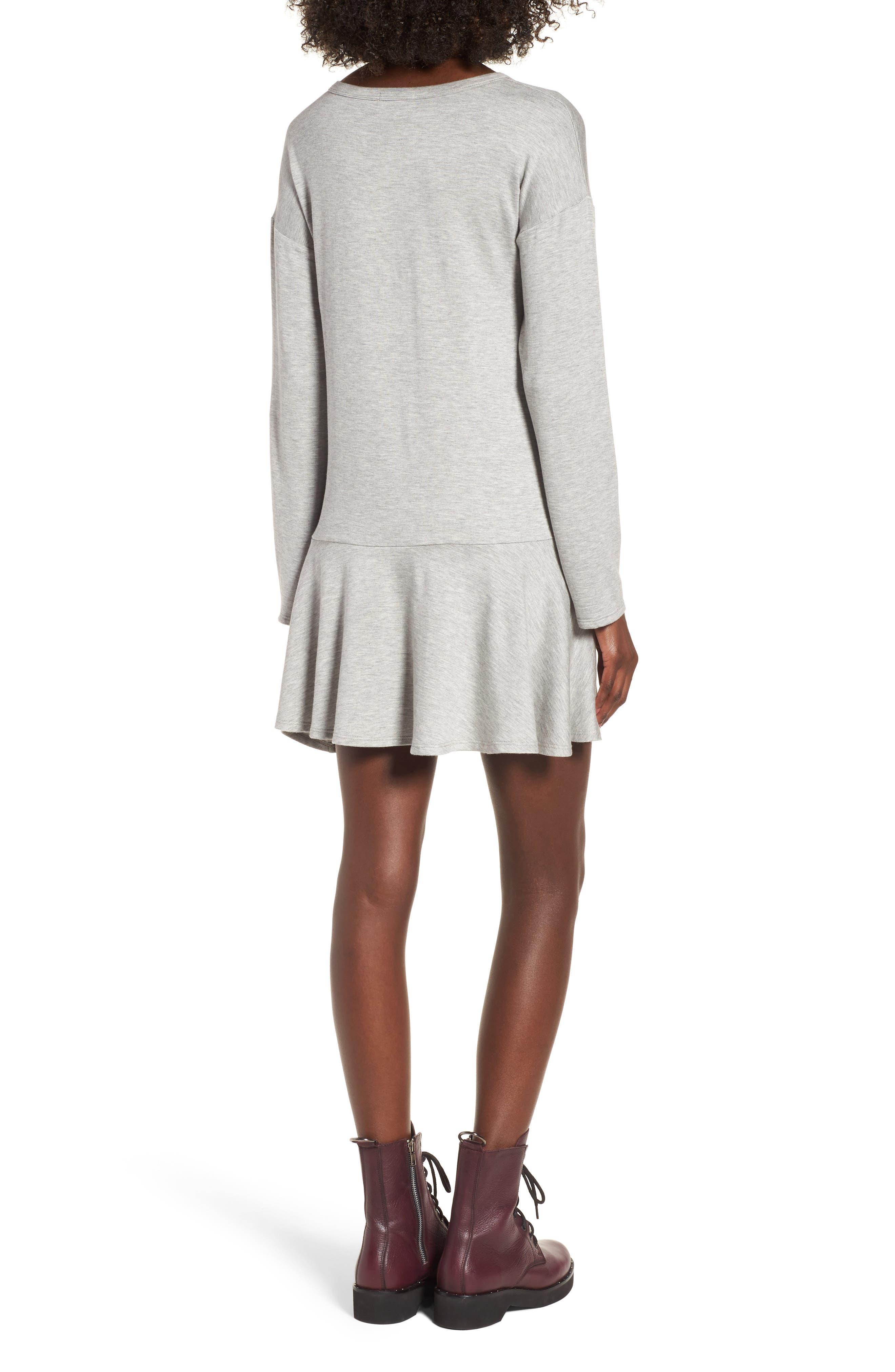 Drop Waist Sweatshirt Dress,                             Alternate thumbnail 2, color,                             Heather Grey