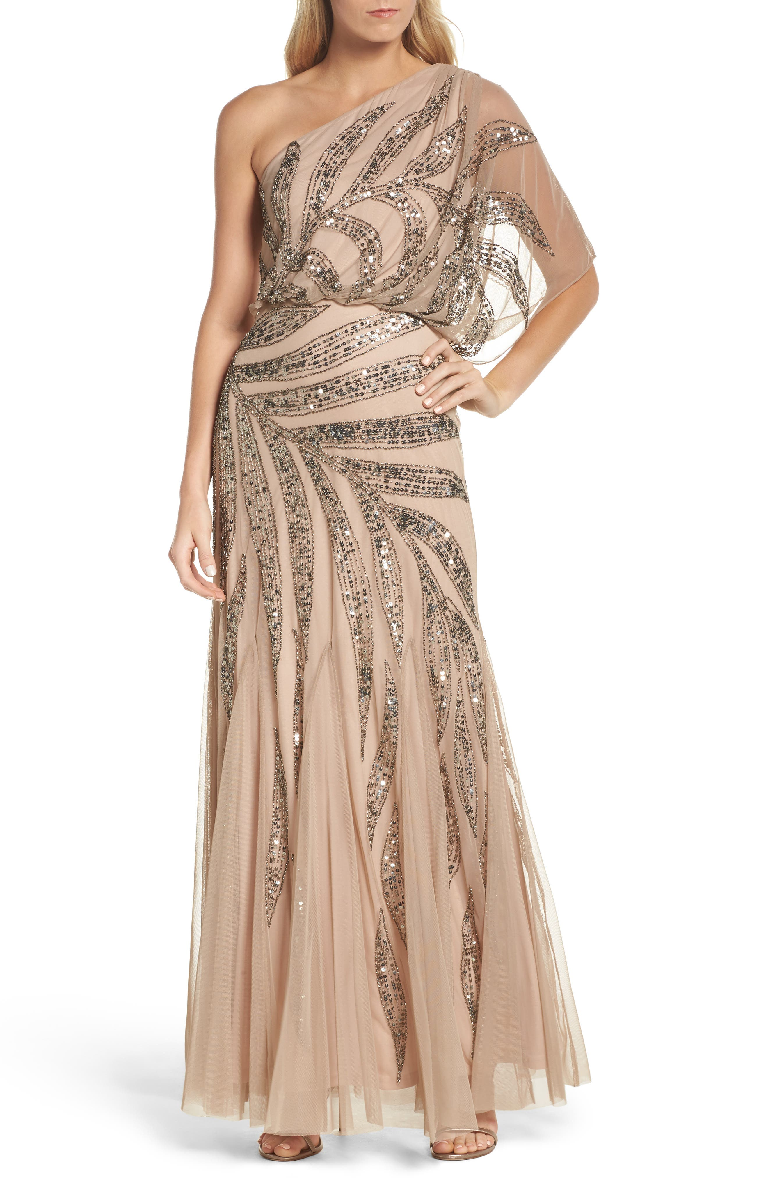 Beaded One-Shoulder Blouson Mesh Gown,                         Main,                         color, Taupe/ Pink