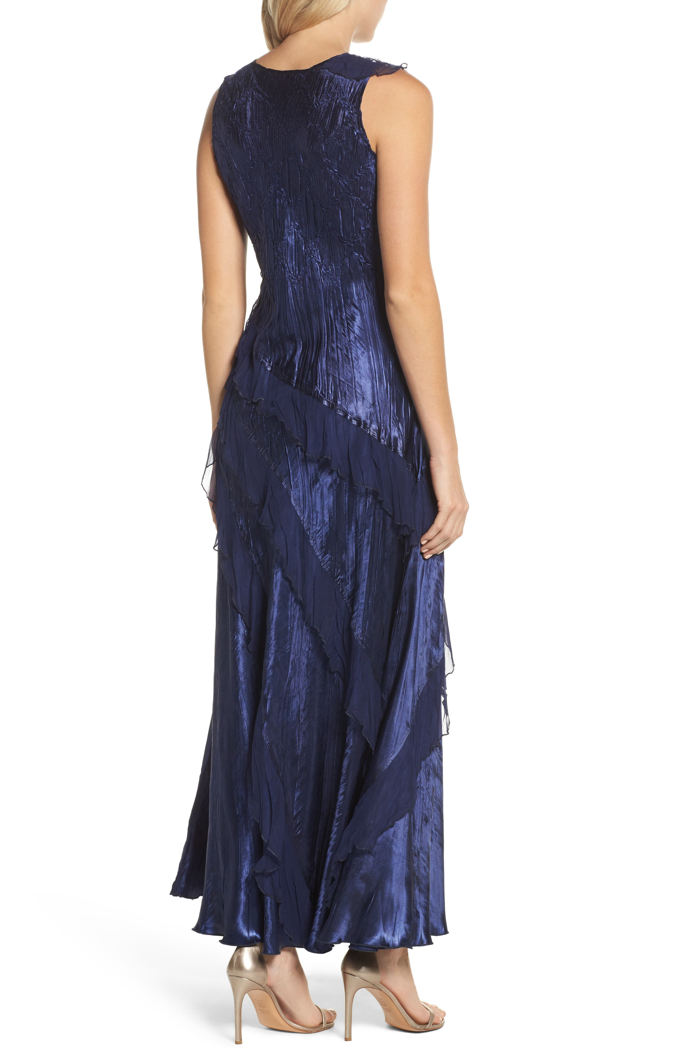 Ruffle Maxi Dress with Wrap,                             Alternate thumbnail 3, color,                             Midnight Navy