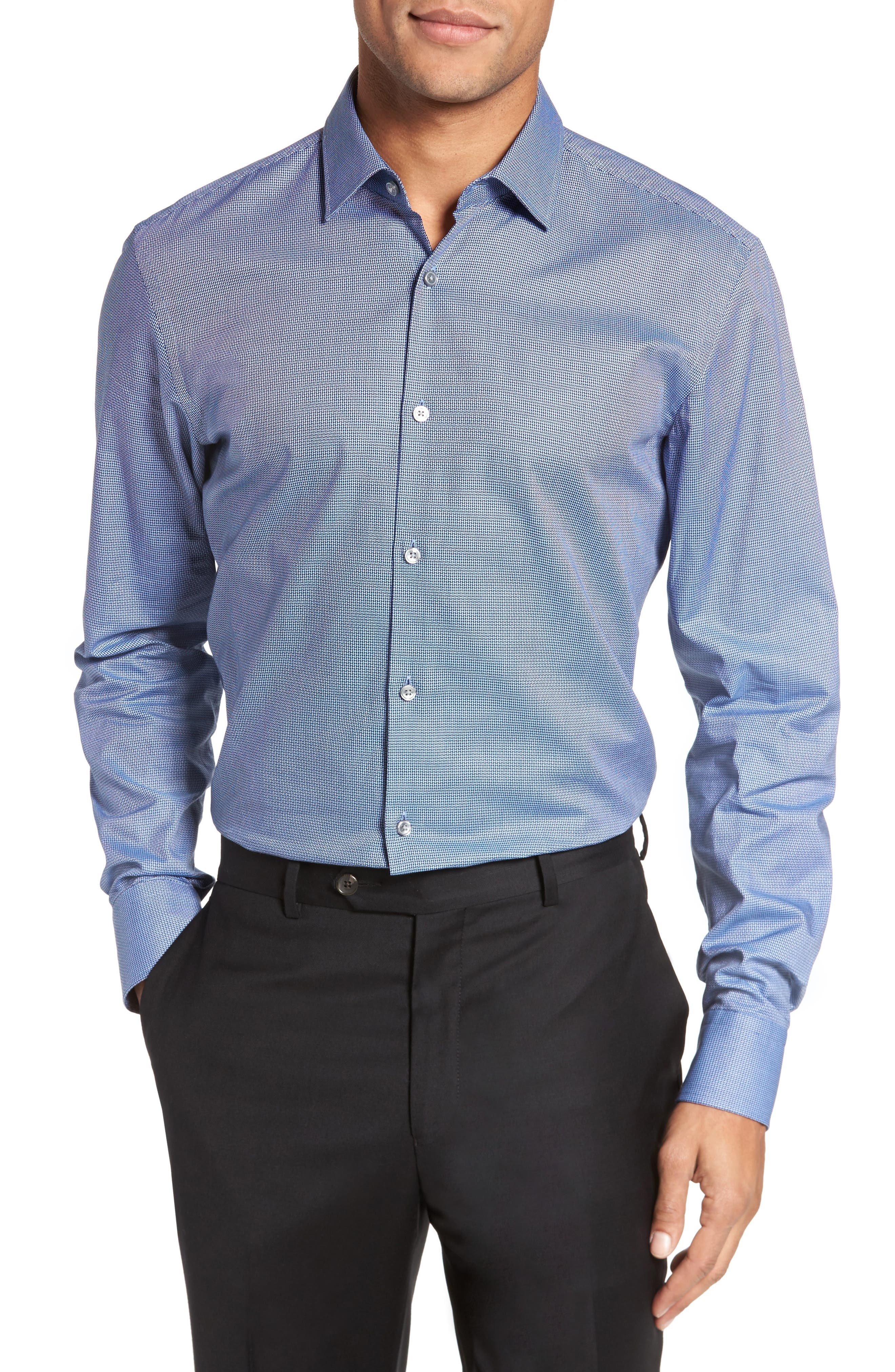 Marley Sharp Fit Solid Dress Shirt,                             Alternate thumbnail 2, color,                             Navy