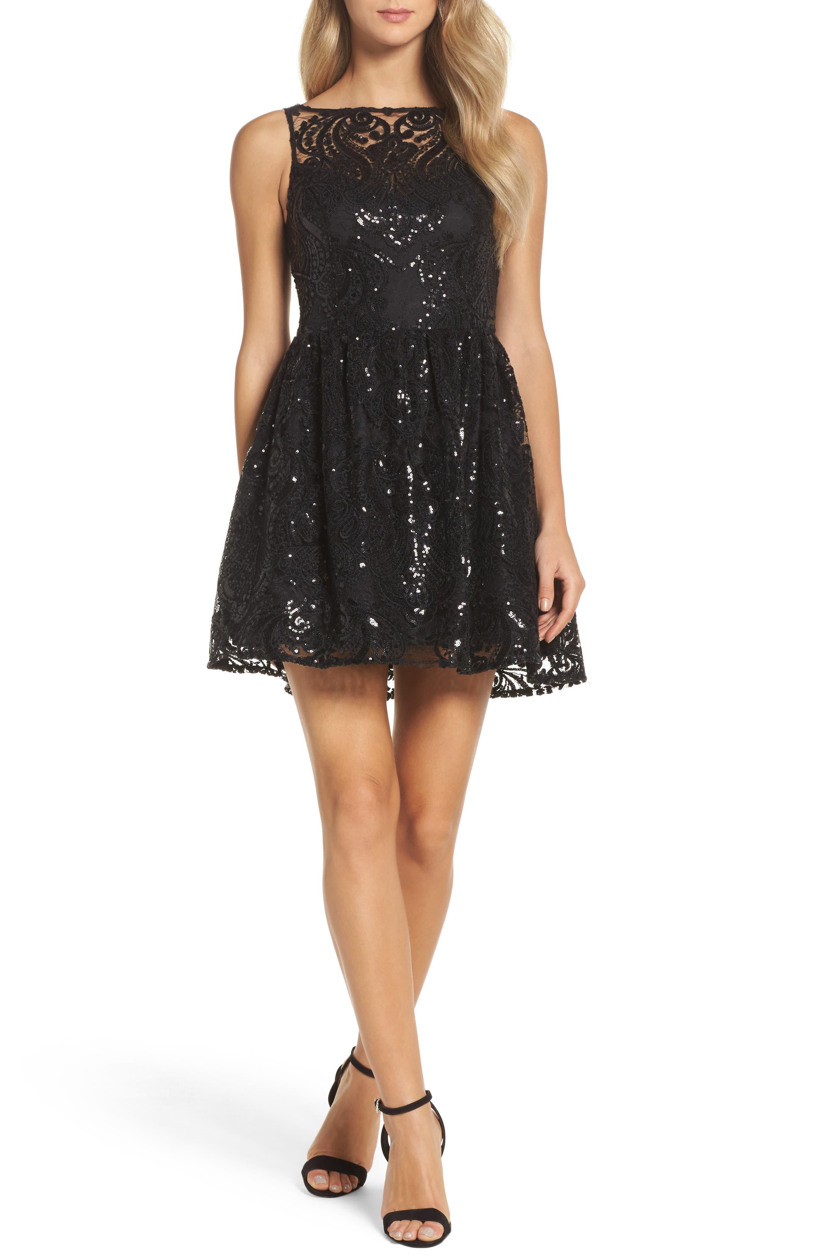 BB Dakota Tate Sequin Lace Fit & Flare Dress