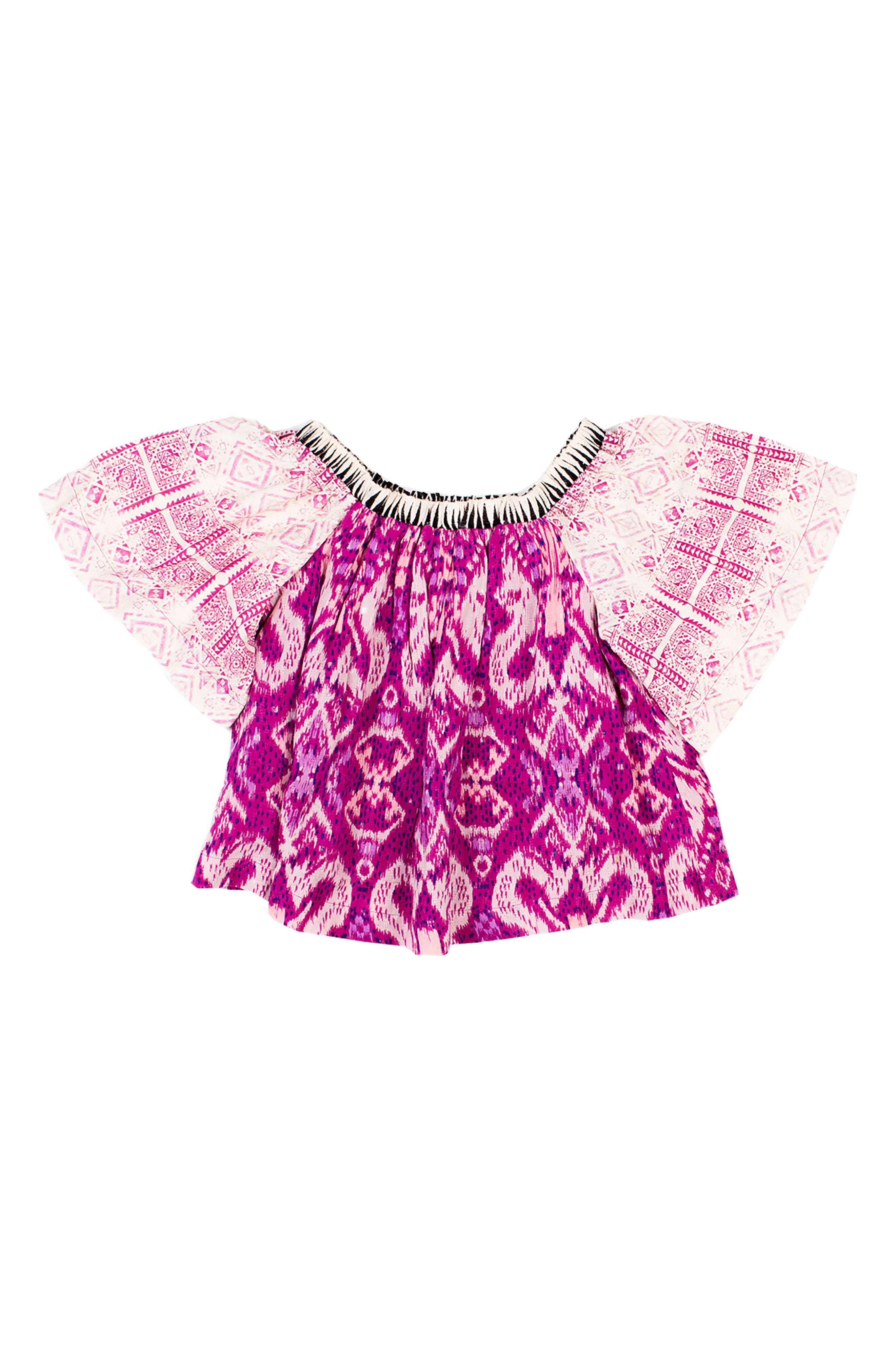 Milky Way Flutter Sleeve Top,                             Main thumbnail 1, color,                             Magenta