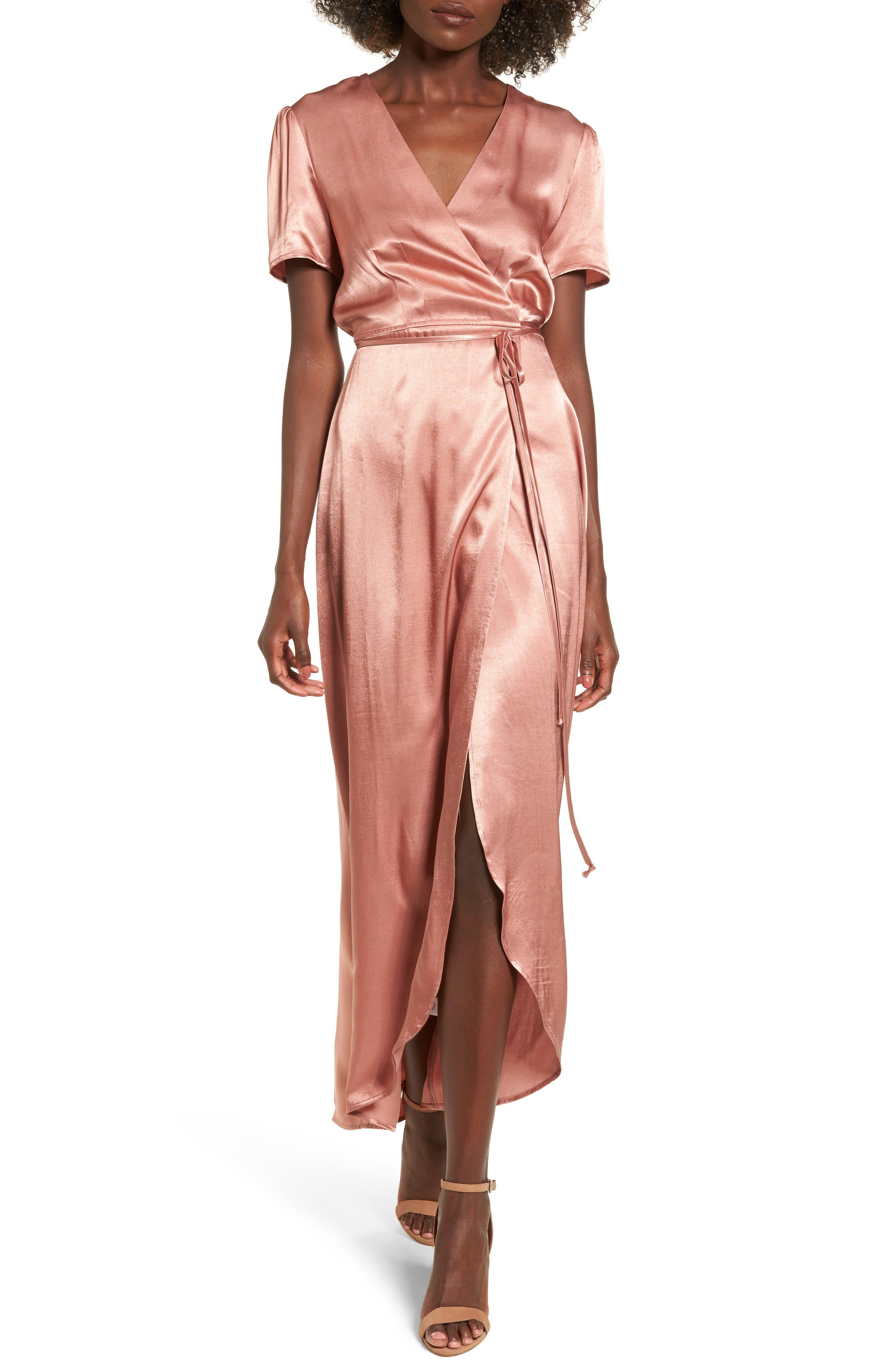 Gwyneth Wrap Maxi Dress,                         Main,                         color, Dusty Rose