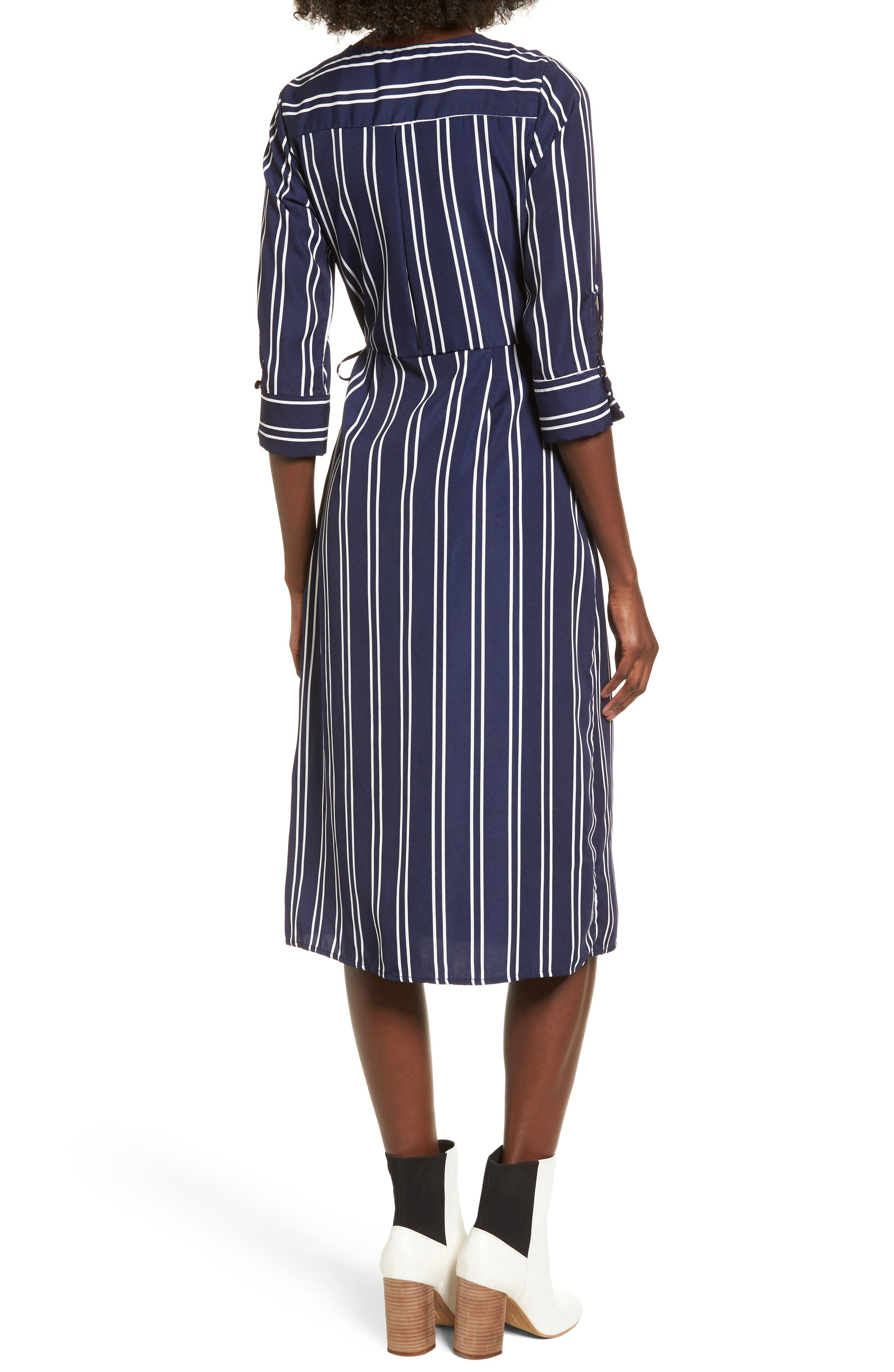 Stripe Wrap Midi Dress,                             Alternate thumbnail 2, color,                             Navy