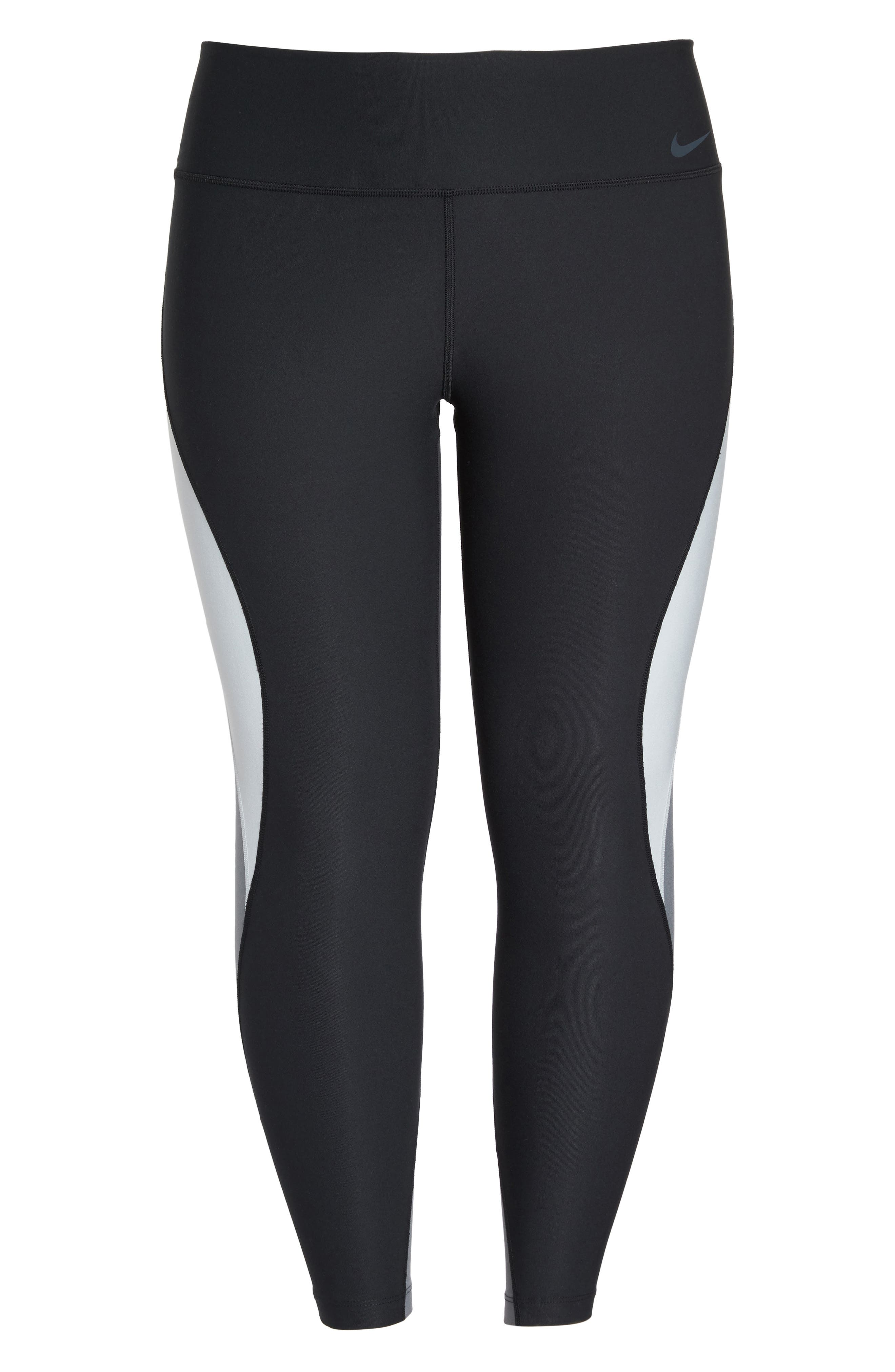 Power Legend Training Tights,                             Alternate thumbnail 6, color,                             Black/ Platinum/ Grey