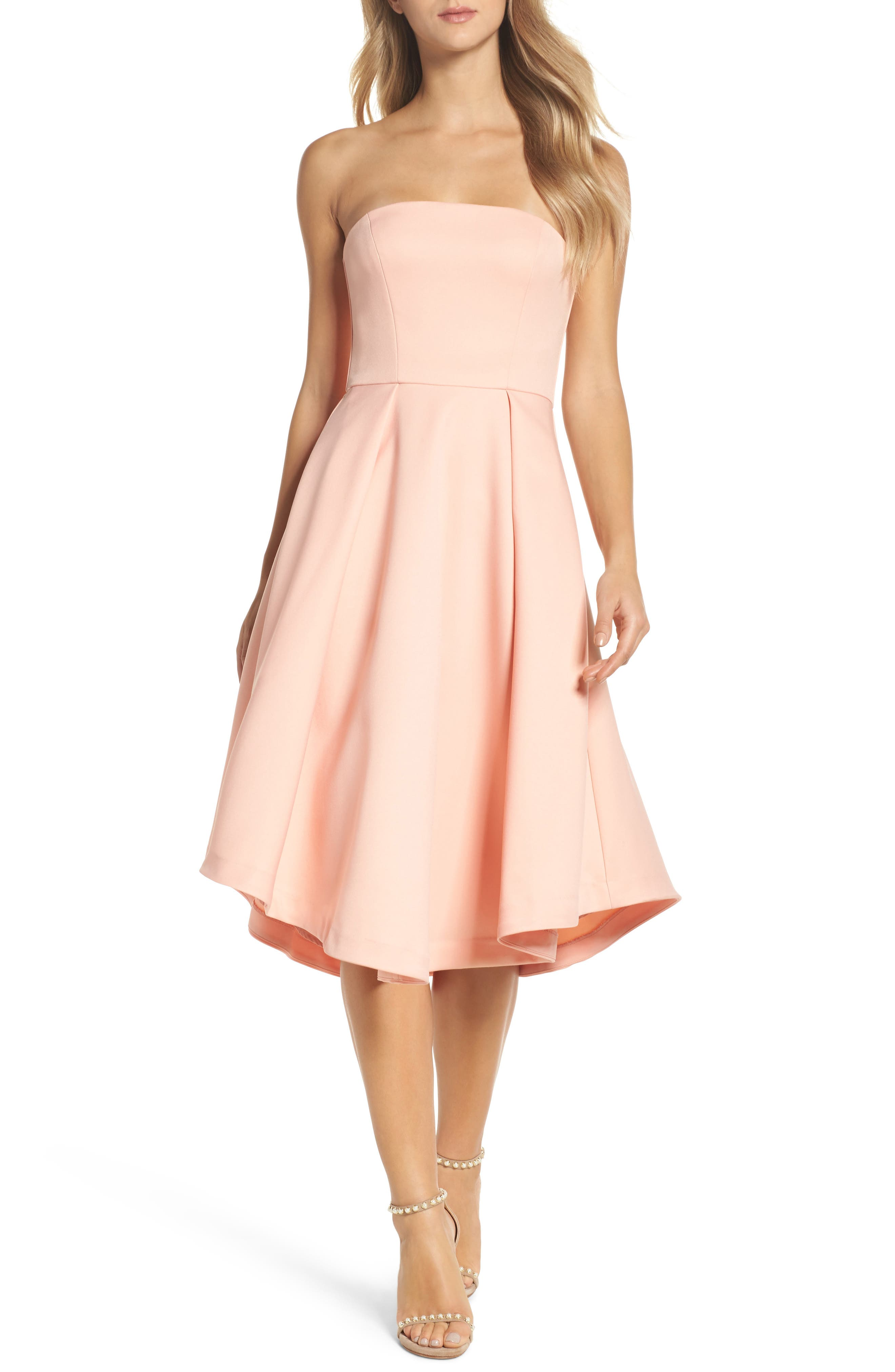 Shuvee Strapless Fit & Flare Dress,                         Main,                         color, Cosmetic Pink