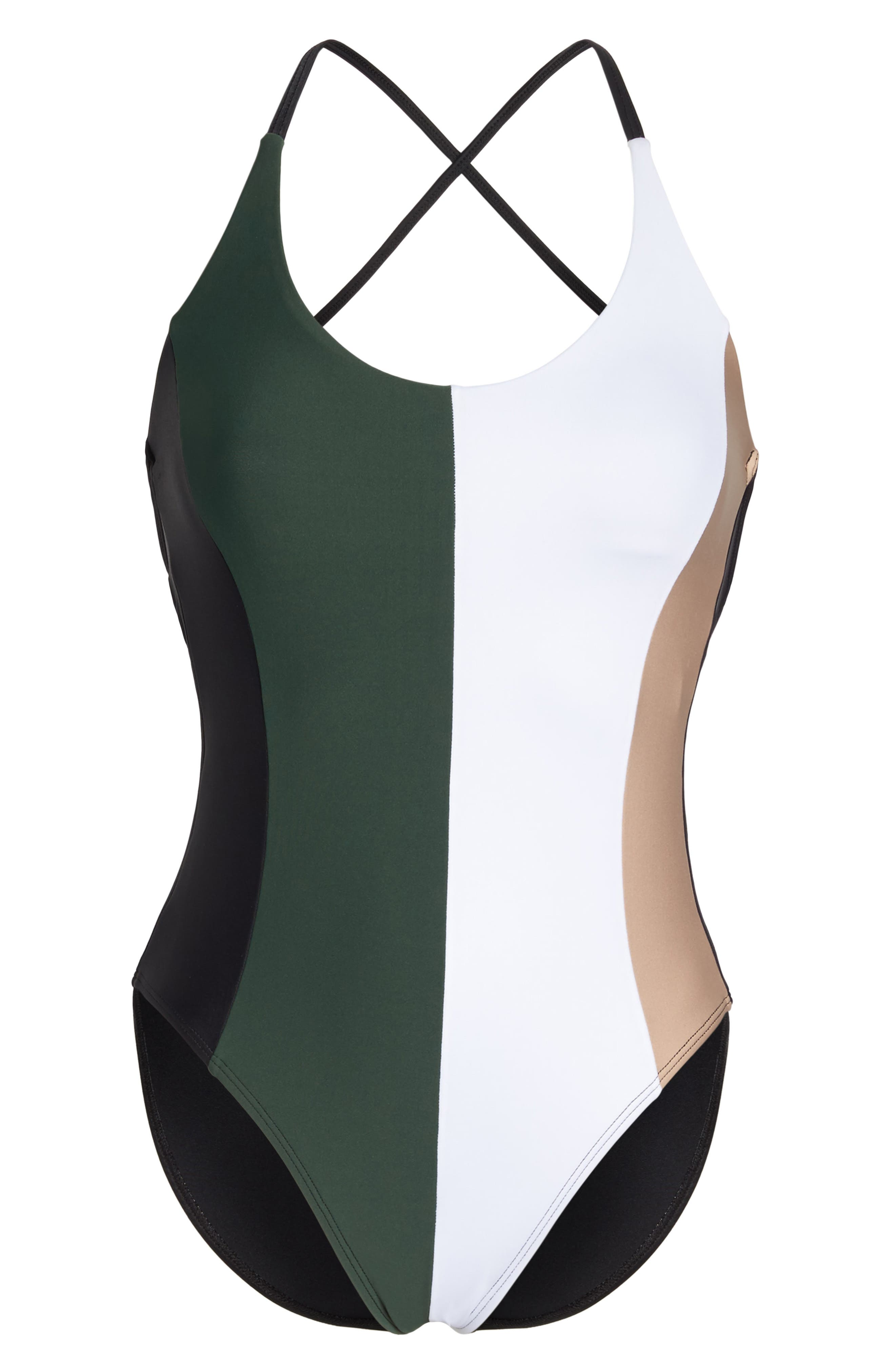 Farrah Colorblock One-Piece Swimsuit,                             Alternate thumbnail 6, color,                             Army