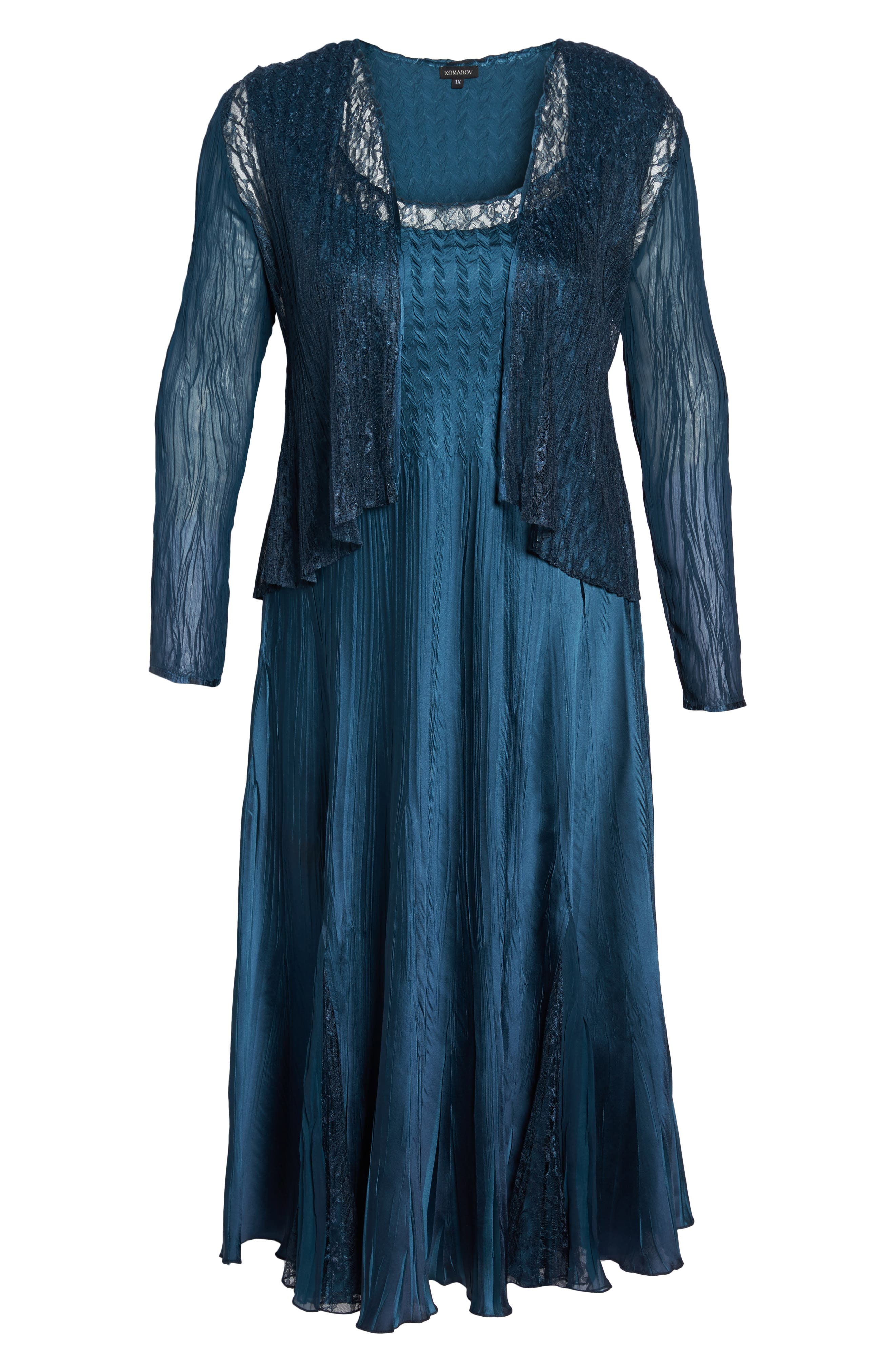 Lace Front Dress with Jacket,                             Alternate thumbnail 6, color,                             Moroccan Blue Ombre