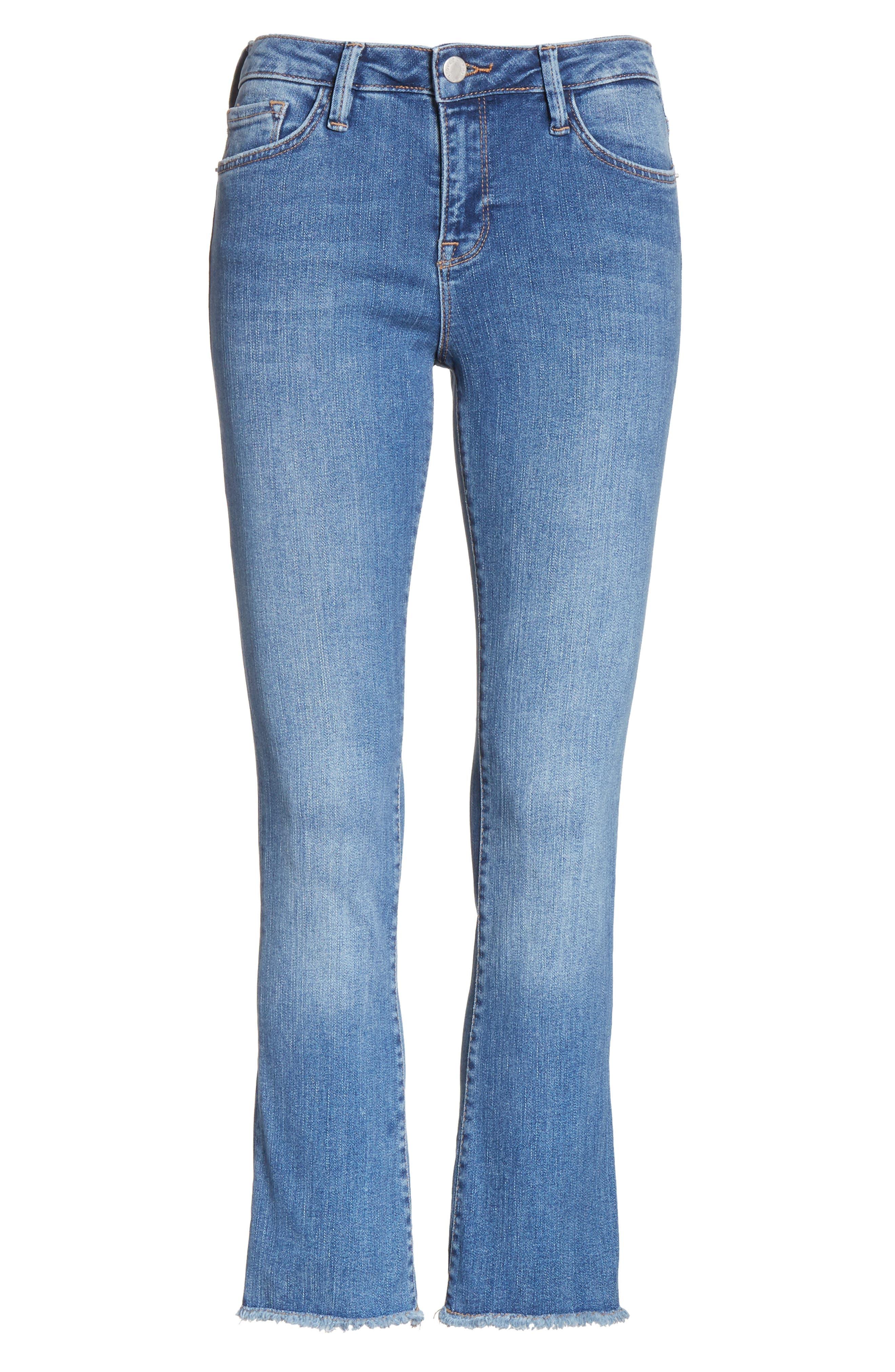 High Waist Crop Straight Leg Jeans,                             Alternate thumbnail 7, color,                             Blue
