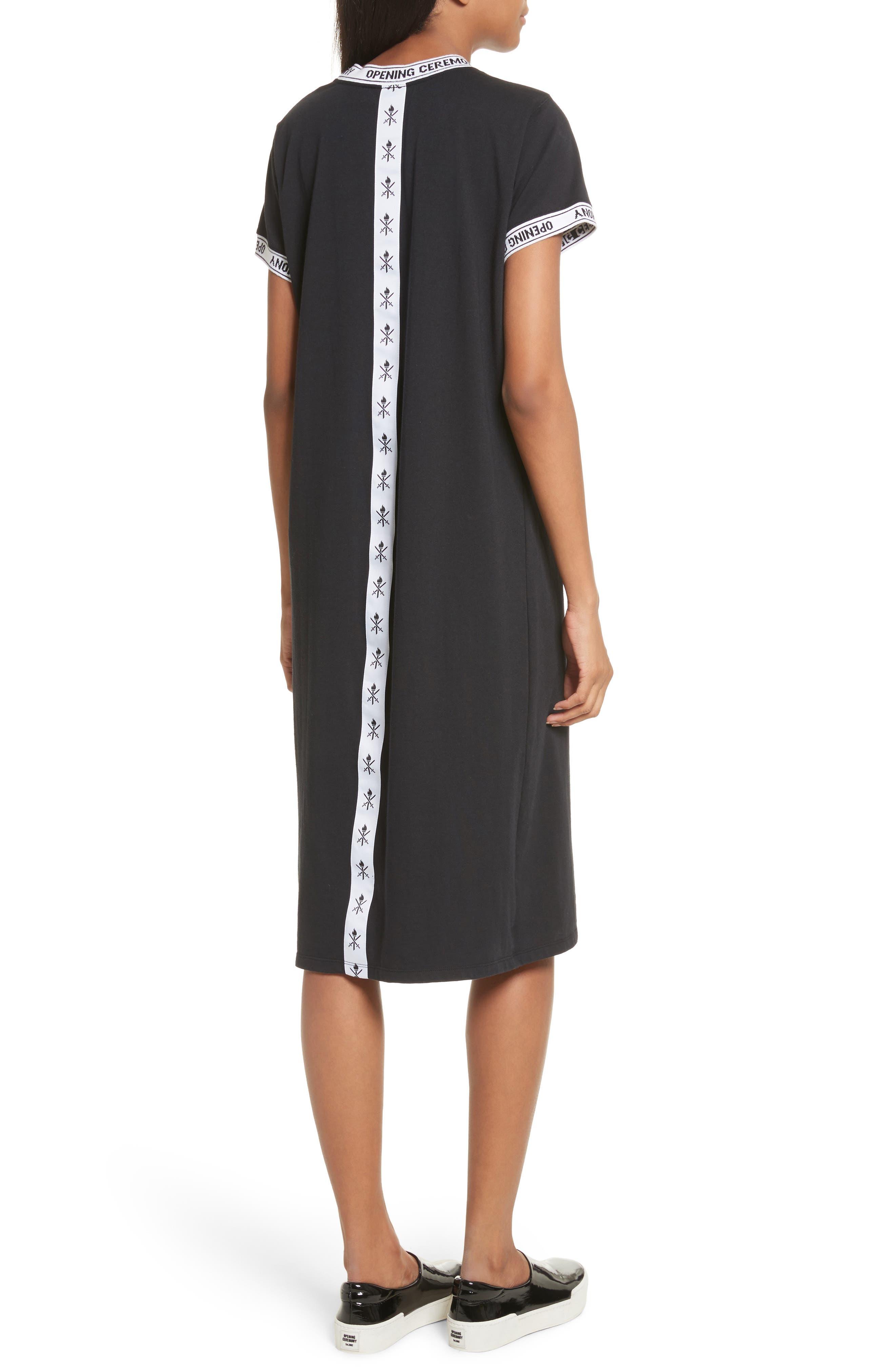 Banded T-Shirt Dress,                             Alternate thumbnail 2, color,                             Black