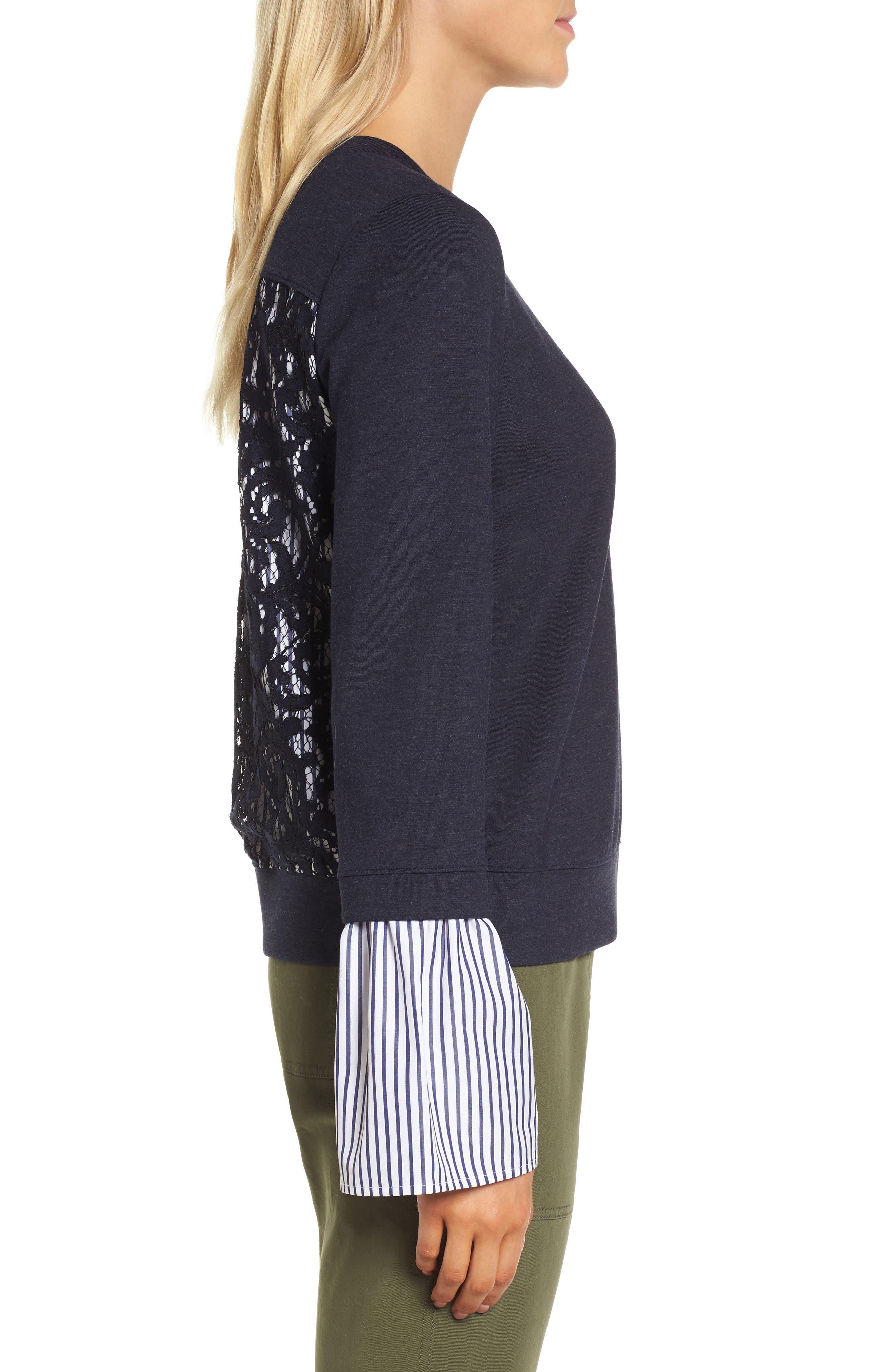 Poplin & Lace Crewneck Sweatshirt,                             Alternate thumbnail 3, color,                             Navy Night