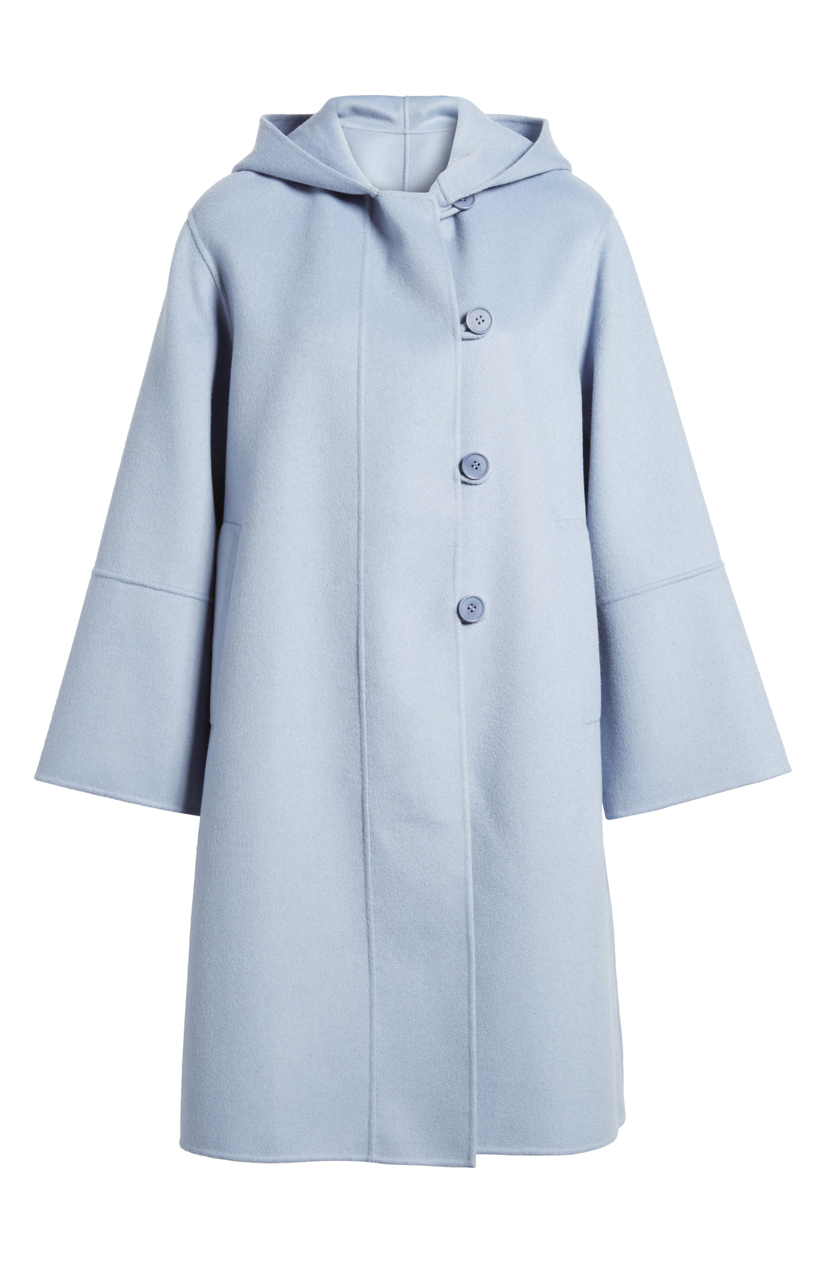 Hooded Wool & Cashmere Coat,                             Alternate thumbnail 6, color,                             Blue Tempest