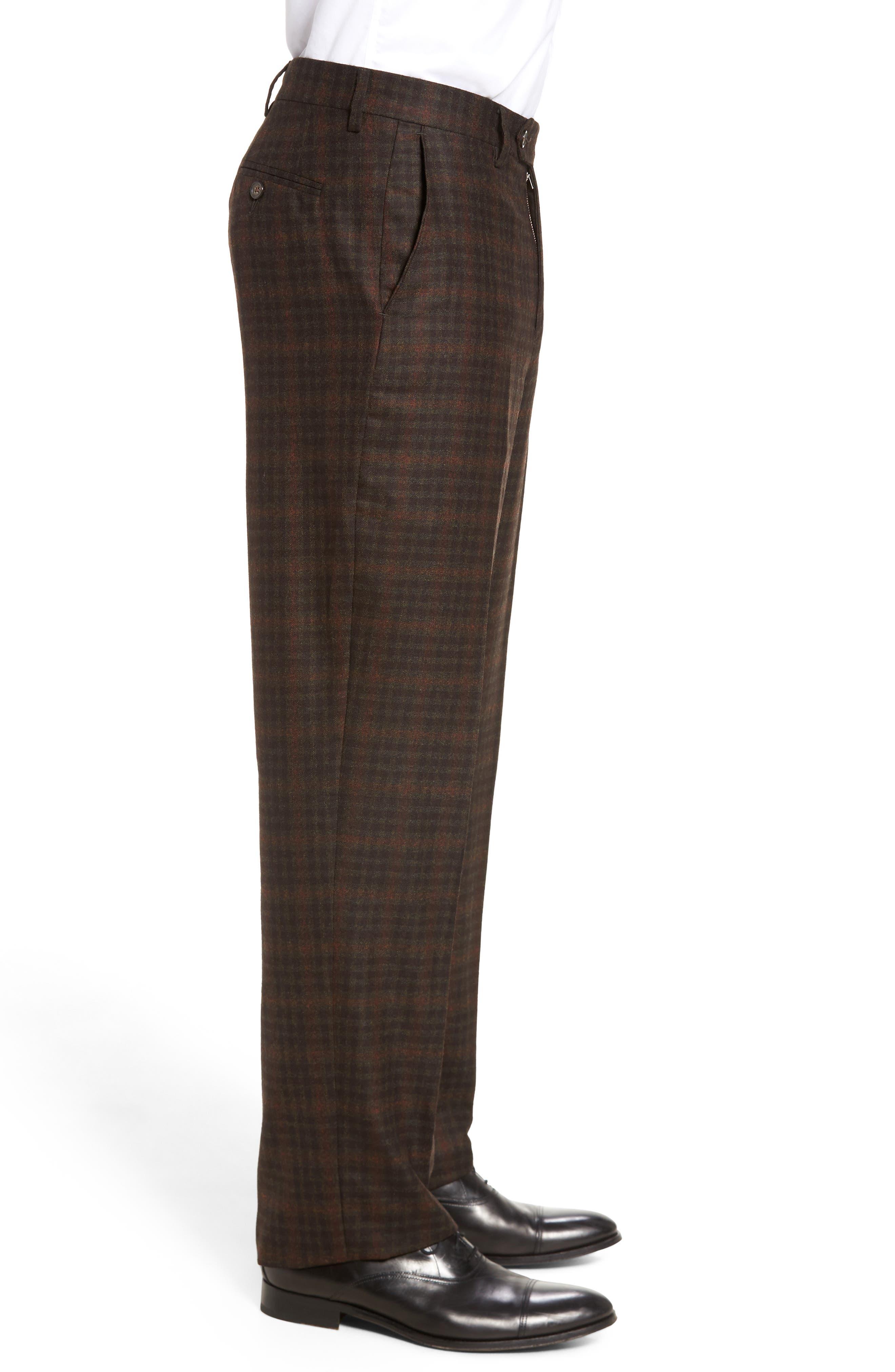 Alternate Image 3  - Berle Flat Front Plaid Wool Trousers