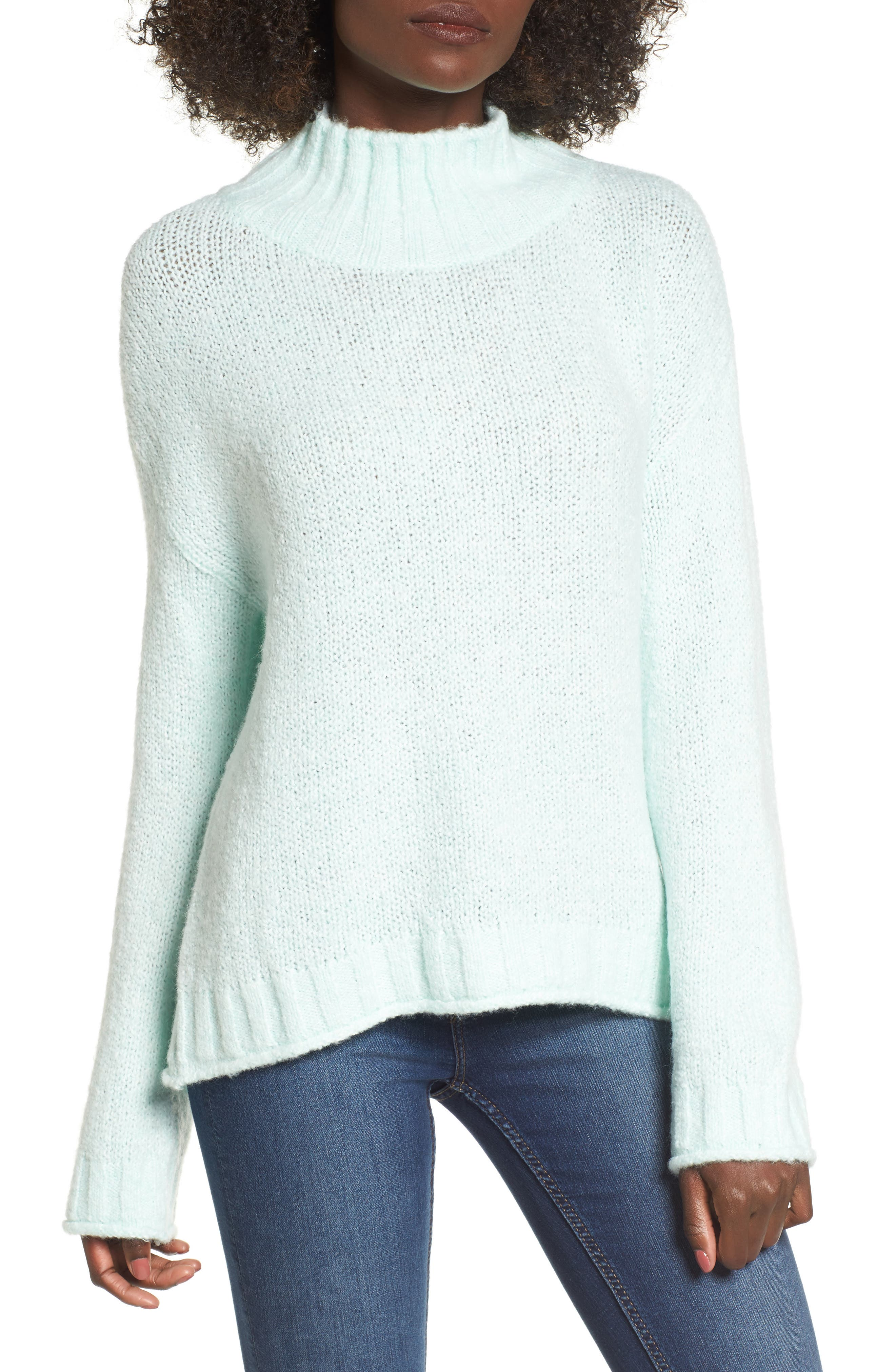 Cozy Mock Neck Sweater,                         Main,                         color, Green Lily