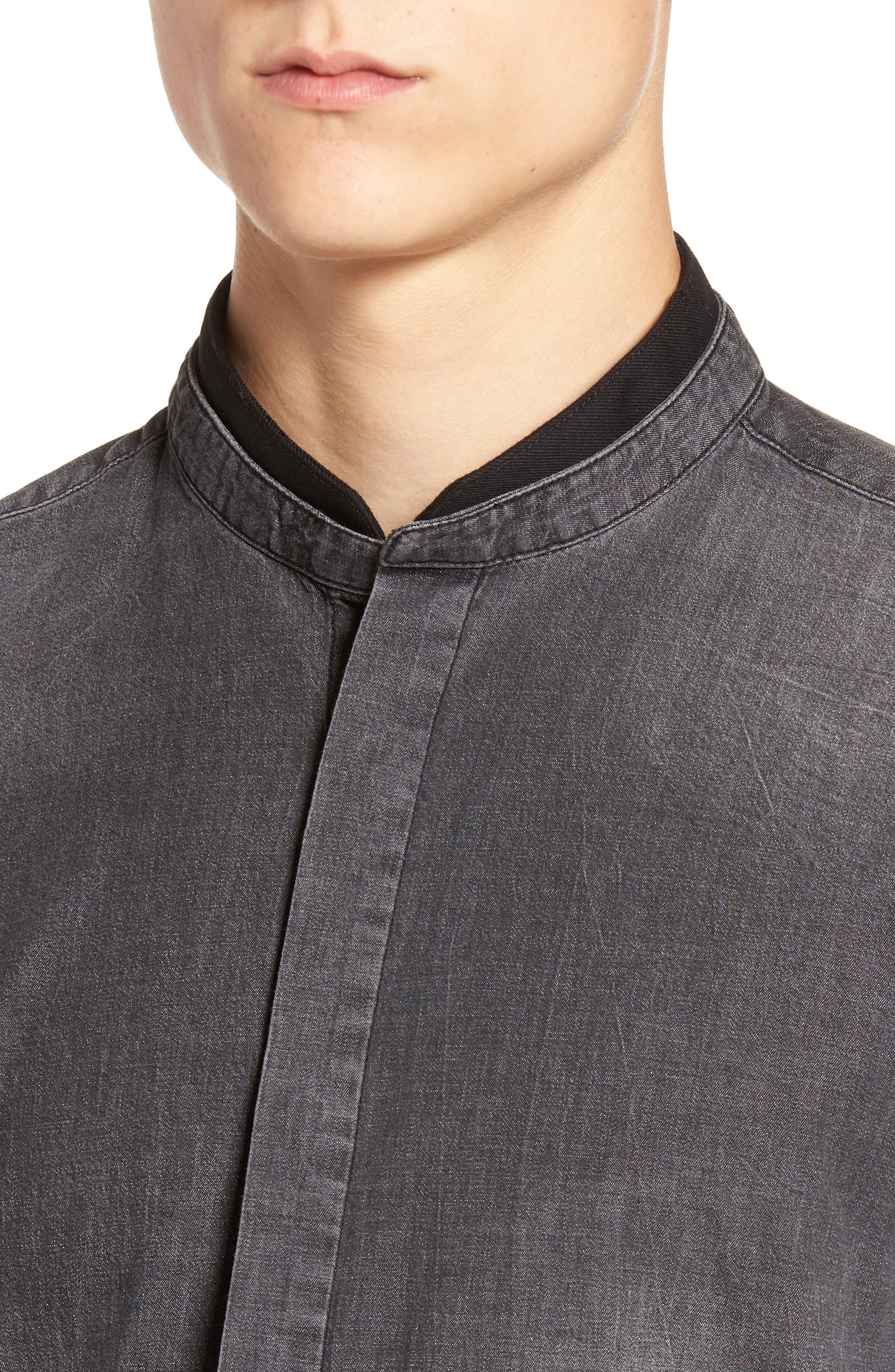 Denim Shirt,                             Alternate thumbnail 4, color,                             Black