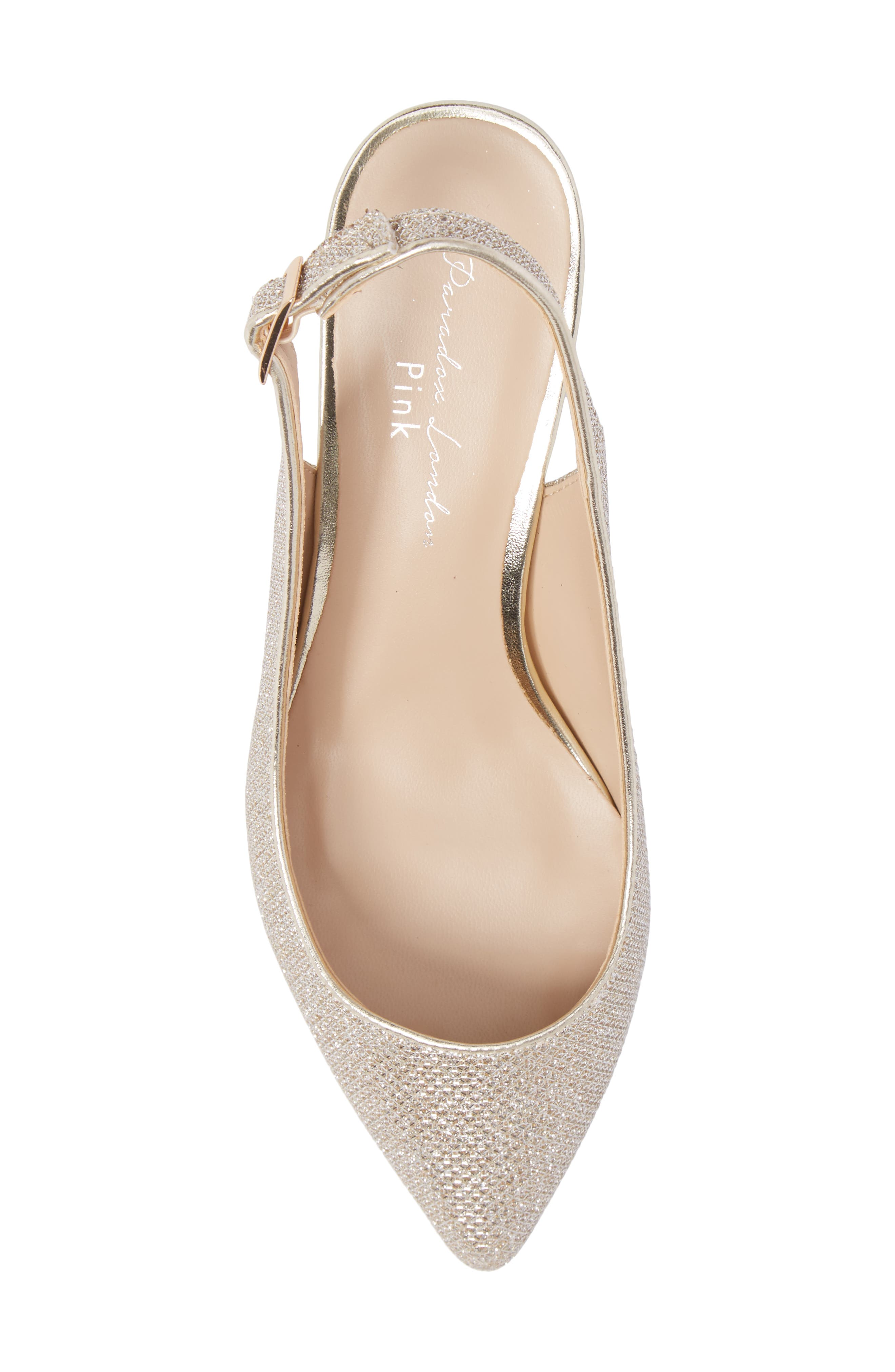Aubree Slingback Pump,                             Alternate thumbnail 5, color,                             Champagne Glitter