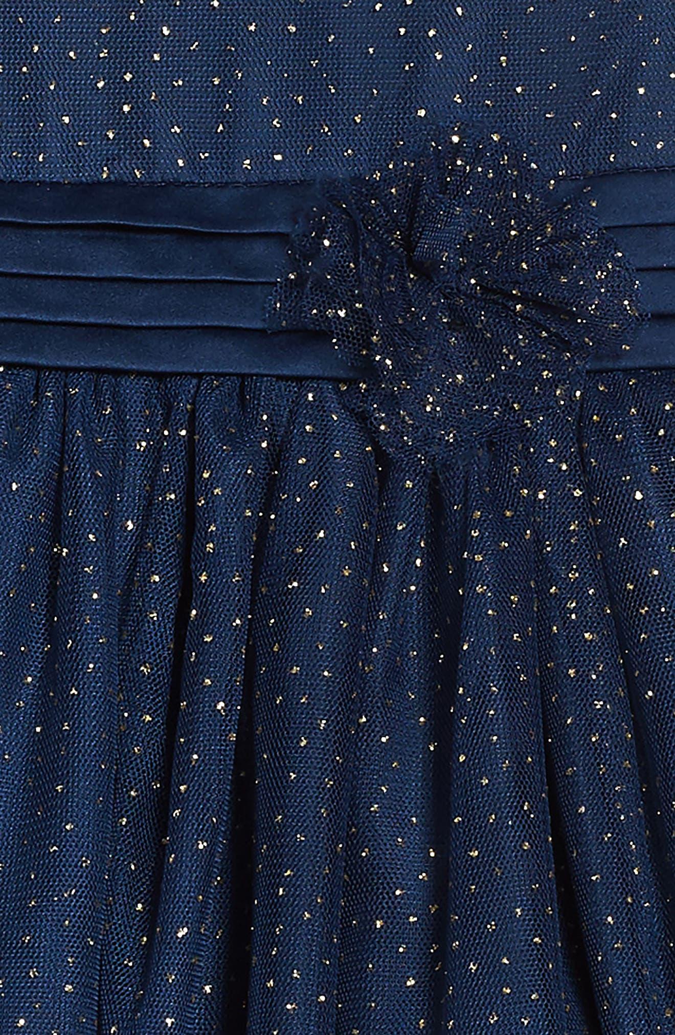 Illusion Mesh Party Dress,                             Alternate thumbnail 3, color,                             Navy
